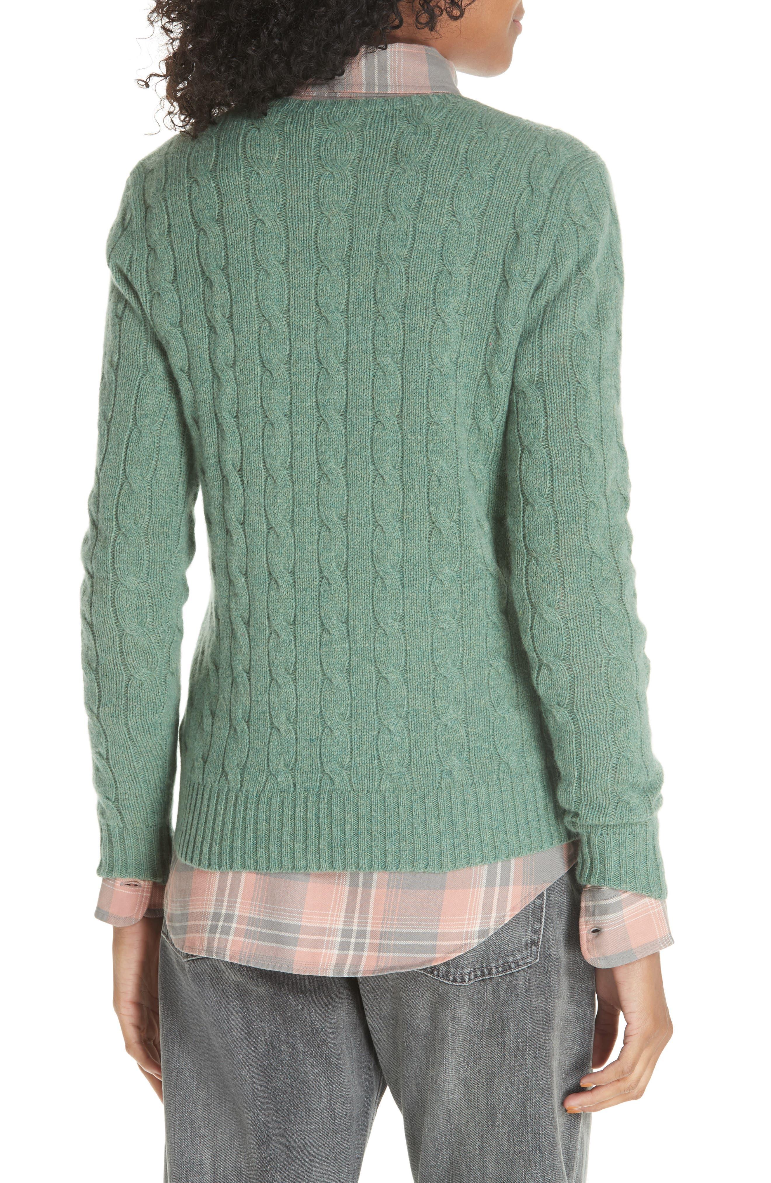 POLO RALPH LAUREN, Cable Knit Cotton Sweater, Alternate thumbnail 2, color, 300