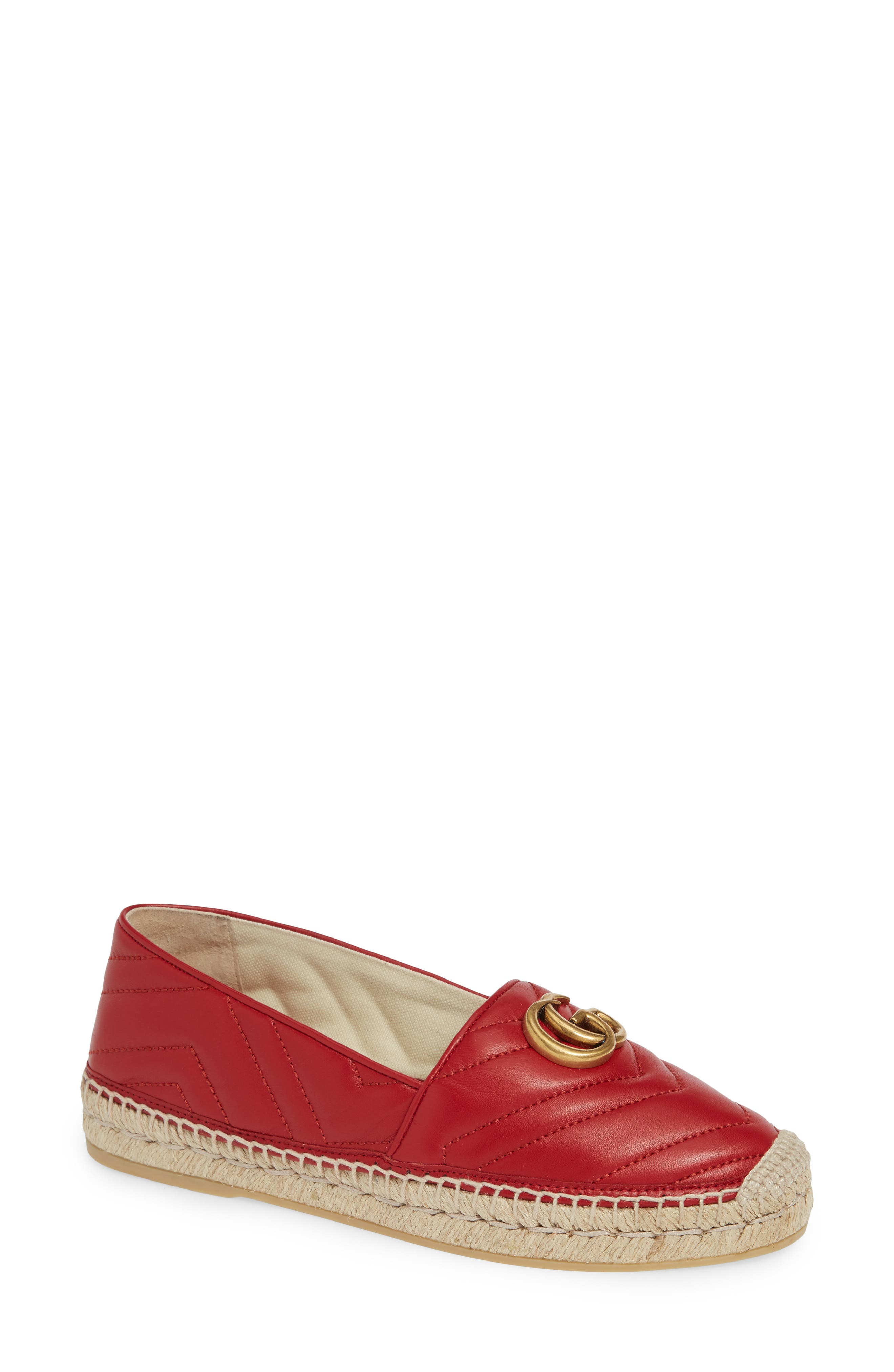 GUCCI, Pilar Chevron Flat Espadrille, Main thumbnail 1, color, HIBISCUS RED LEATHER