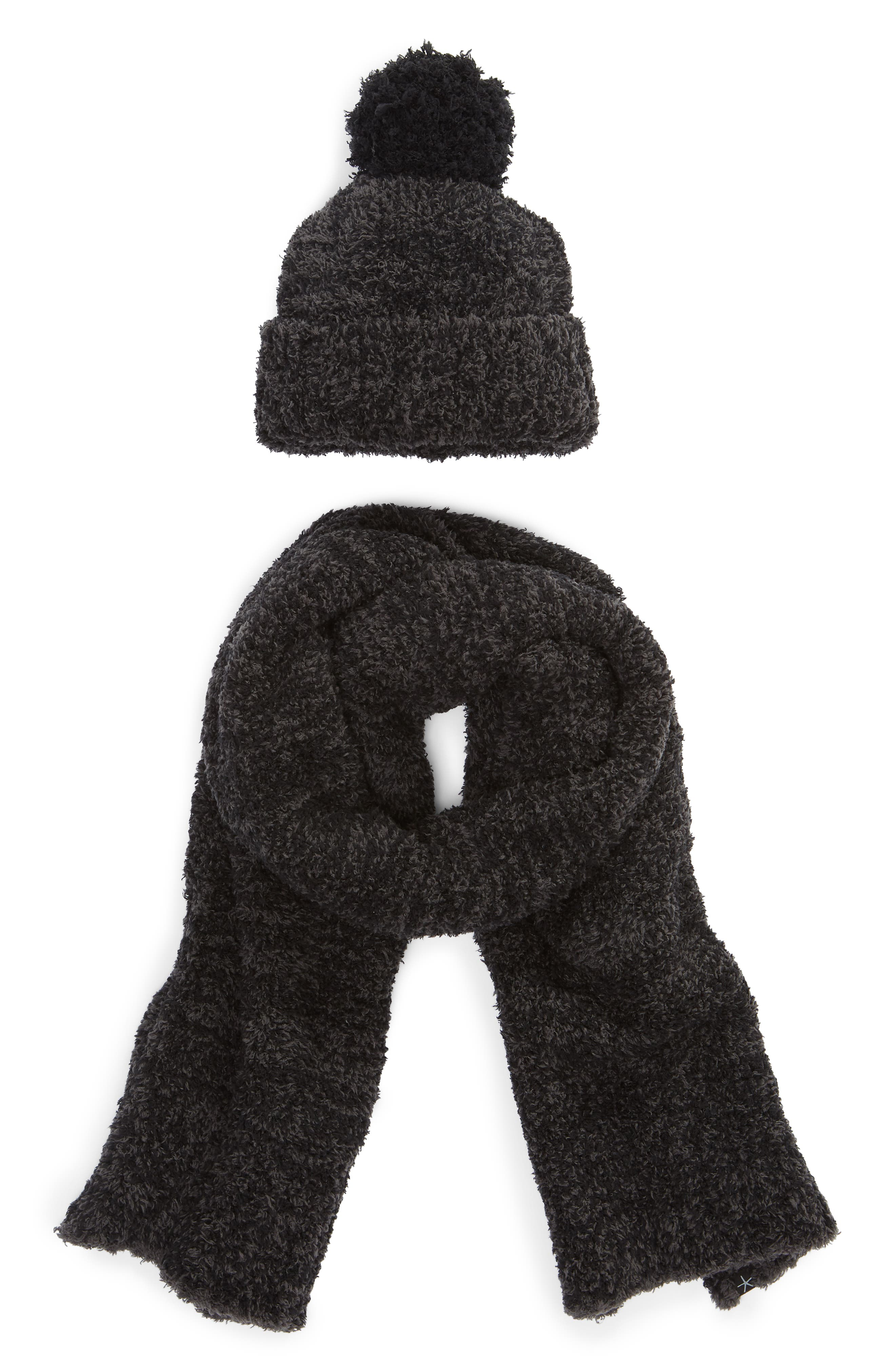 BAREFOOT DREAMS<SUP>®</SUP>, Barefoot Dreams Pompom Beanie & Scarf Set, Main thumbnail 1, color, 024