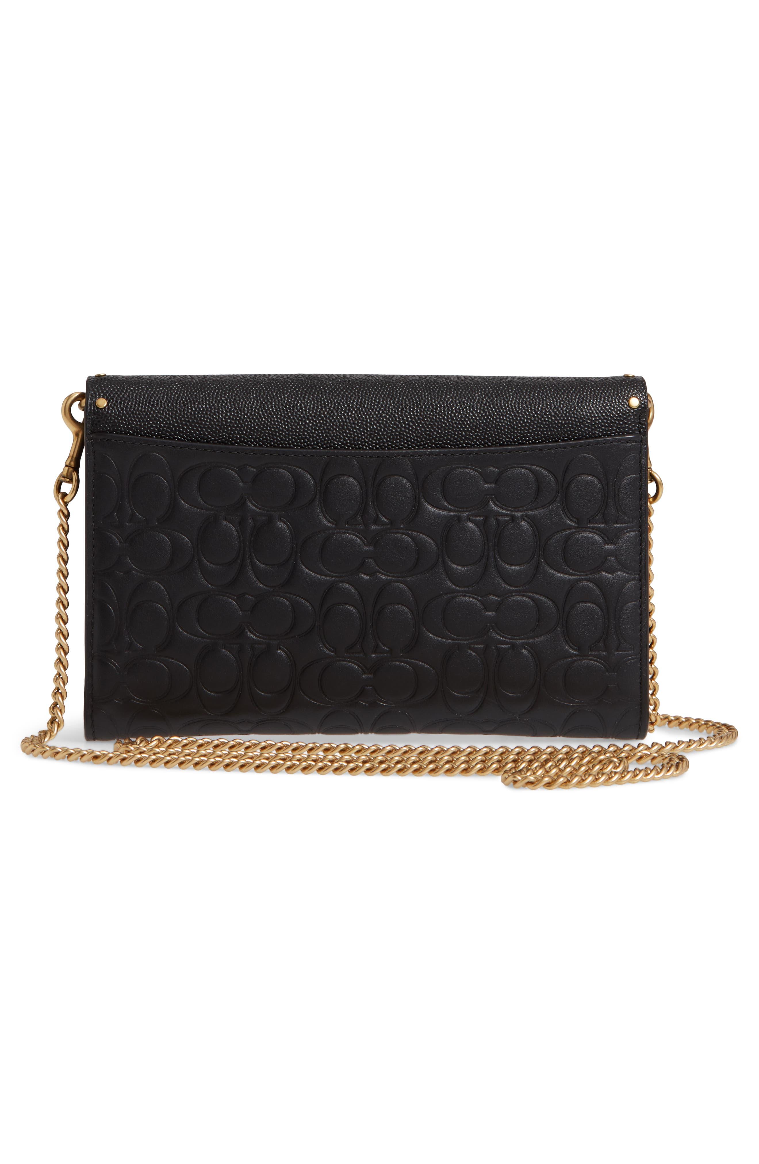 COACH, Marlow Rivets Leather Crossbody Bag, Alternate thumbnail 4, color, BLACK