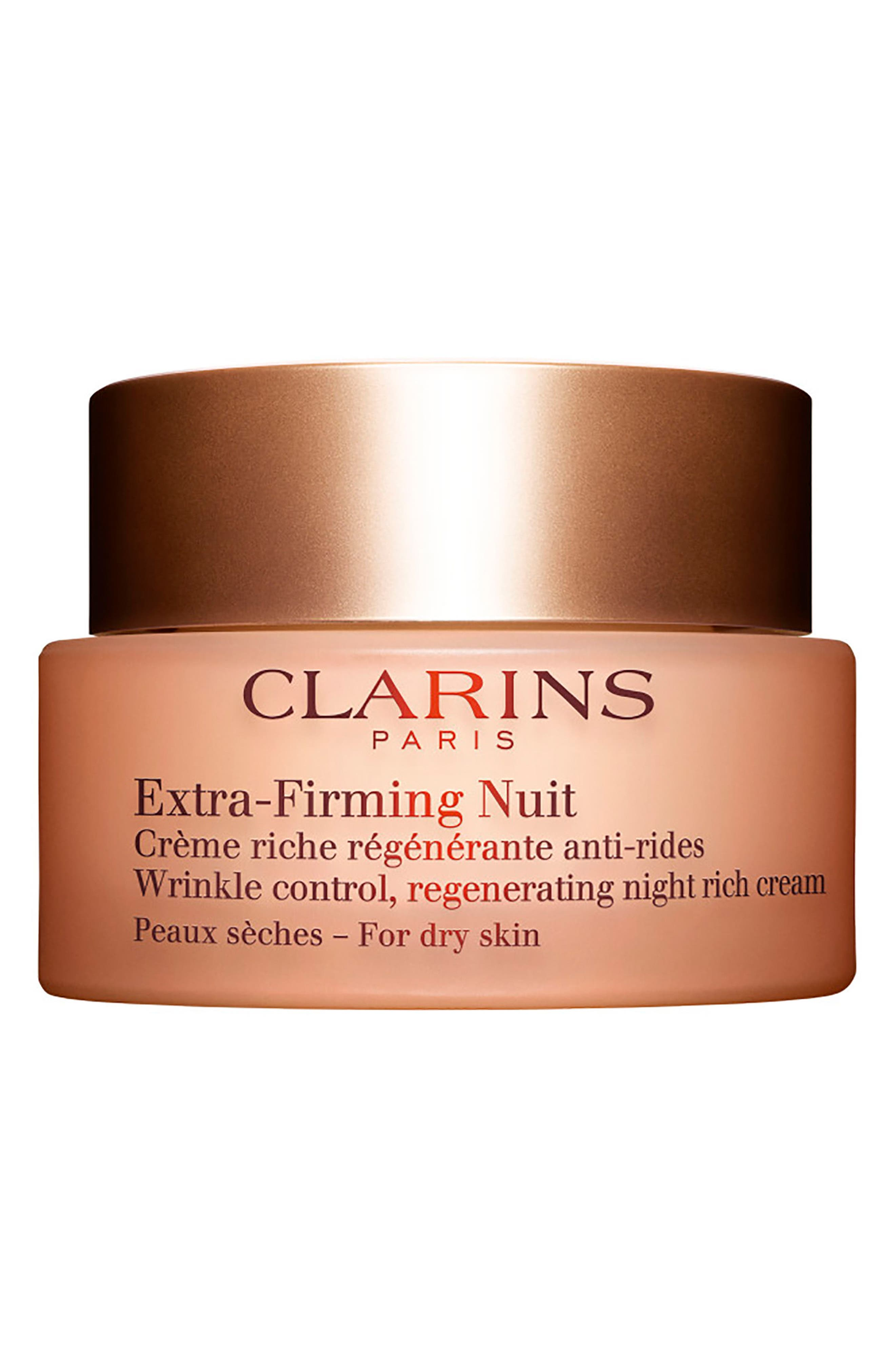 CLARINS Extra-Firming Wrinkle Control Regenerating Night Cream for Dry skin, Main, color, NO COLOR