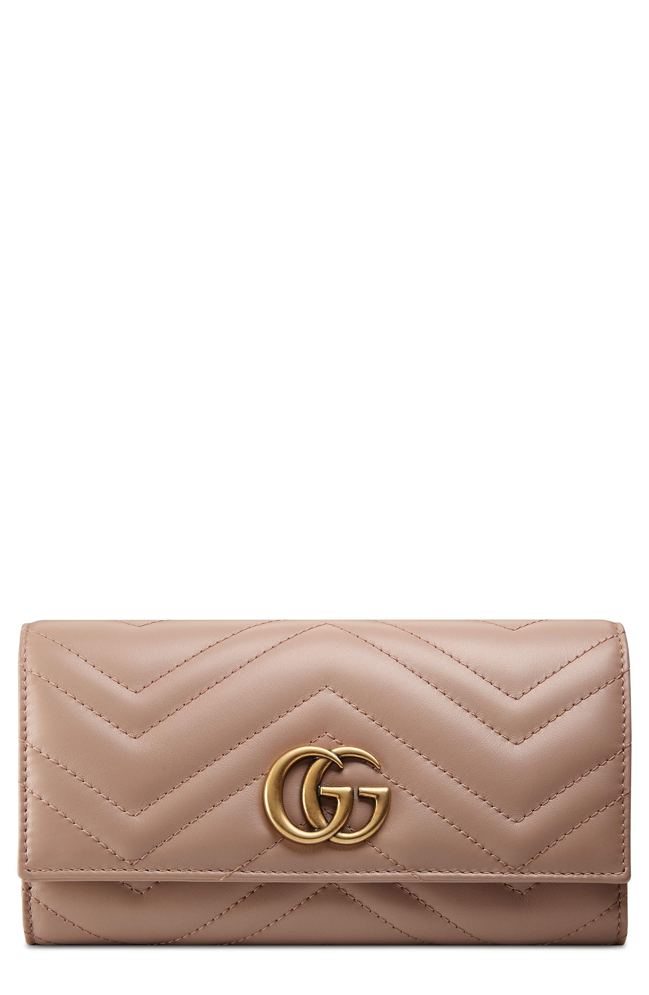 GUCCI, GG Marmont Matelassé Leather Continental Wallet, Main thumbnail 1, color, PORCELAIN ROSE