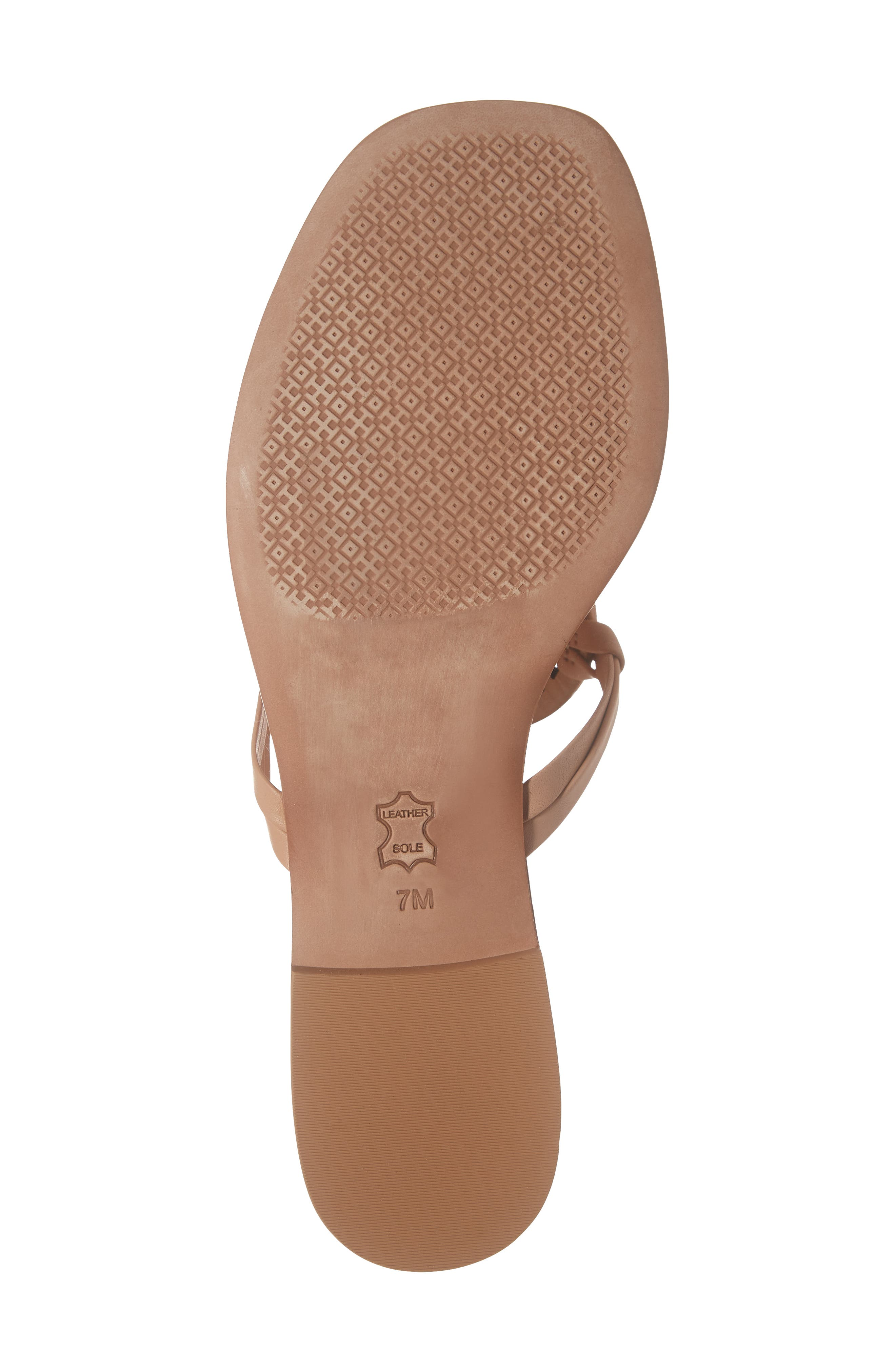 TORY BURCH, Miller Square Toe Thong Sandal, Alternate thumbnail 6, color, NATURAL VACHETTA