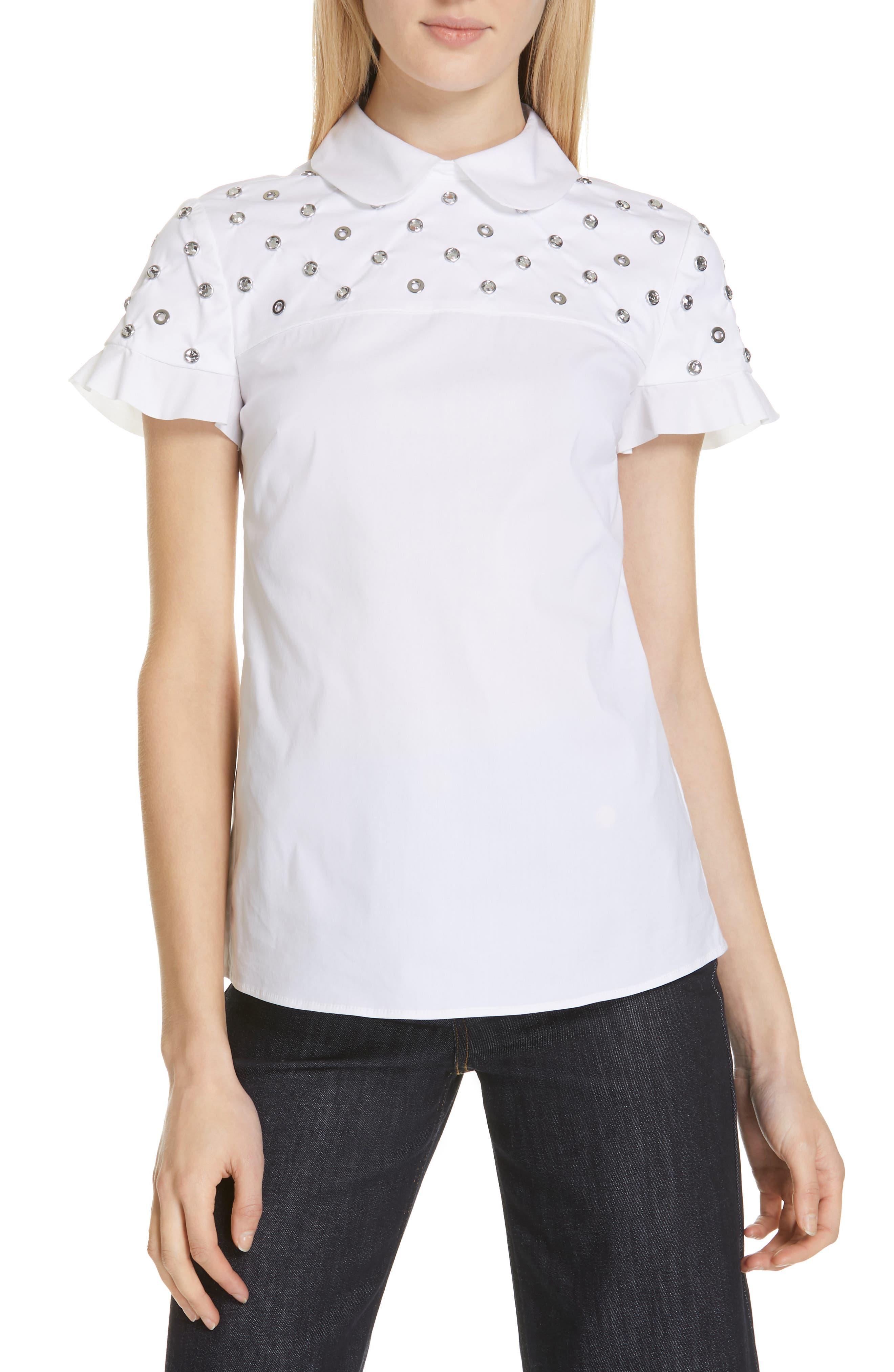 RED VALENTINO, Grommet & Crystal Ruffle Sleeve Top, Main thumbnail 1, color, BIANCO OTTICO