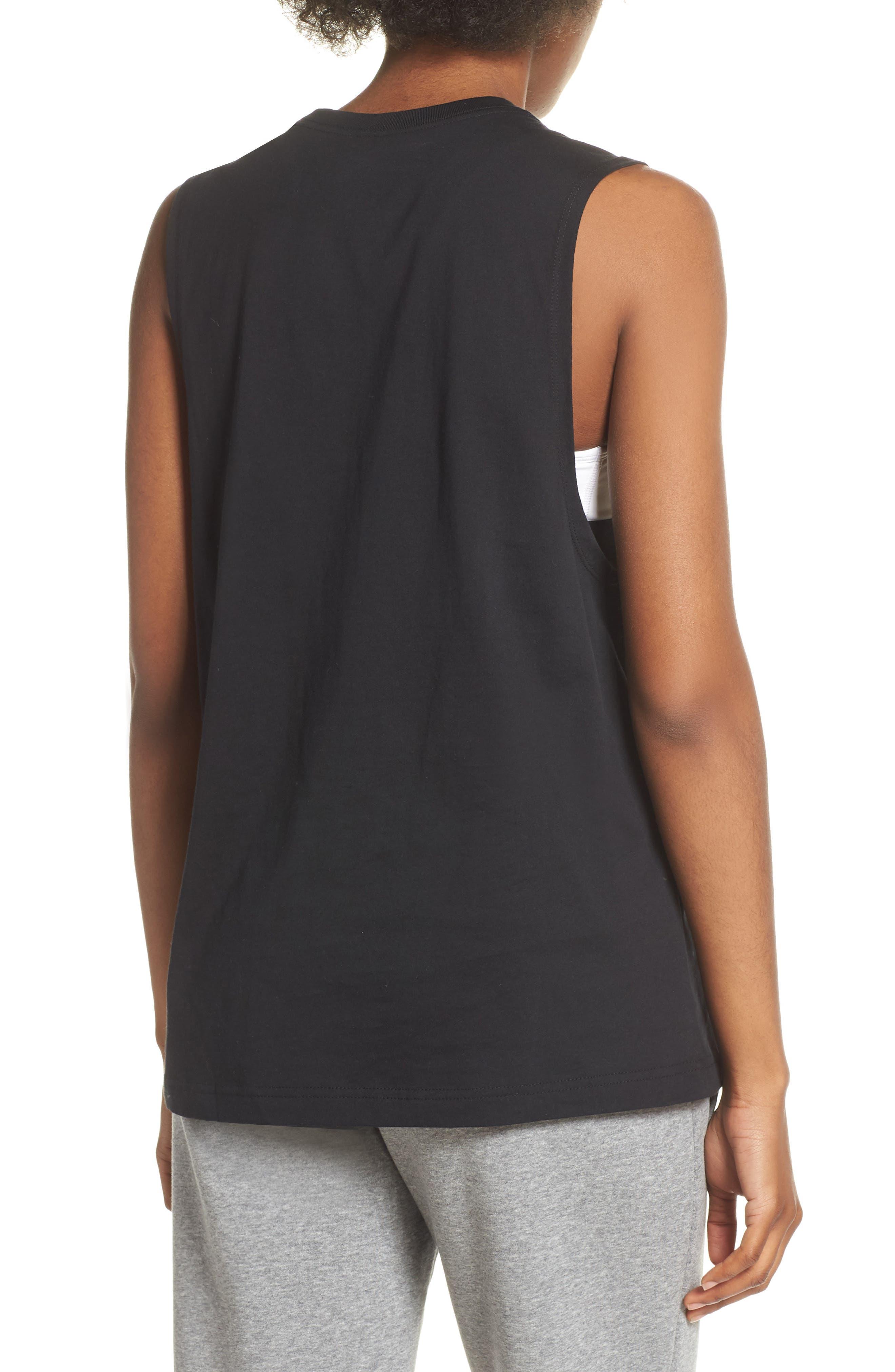 NIKE, Sportswear Essential Futura Muscle Tank, Alternate thumbnail 2, color, BLACK/ WHITE