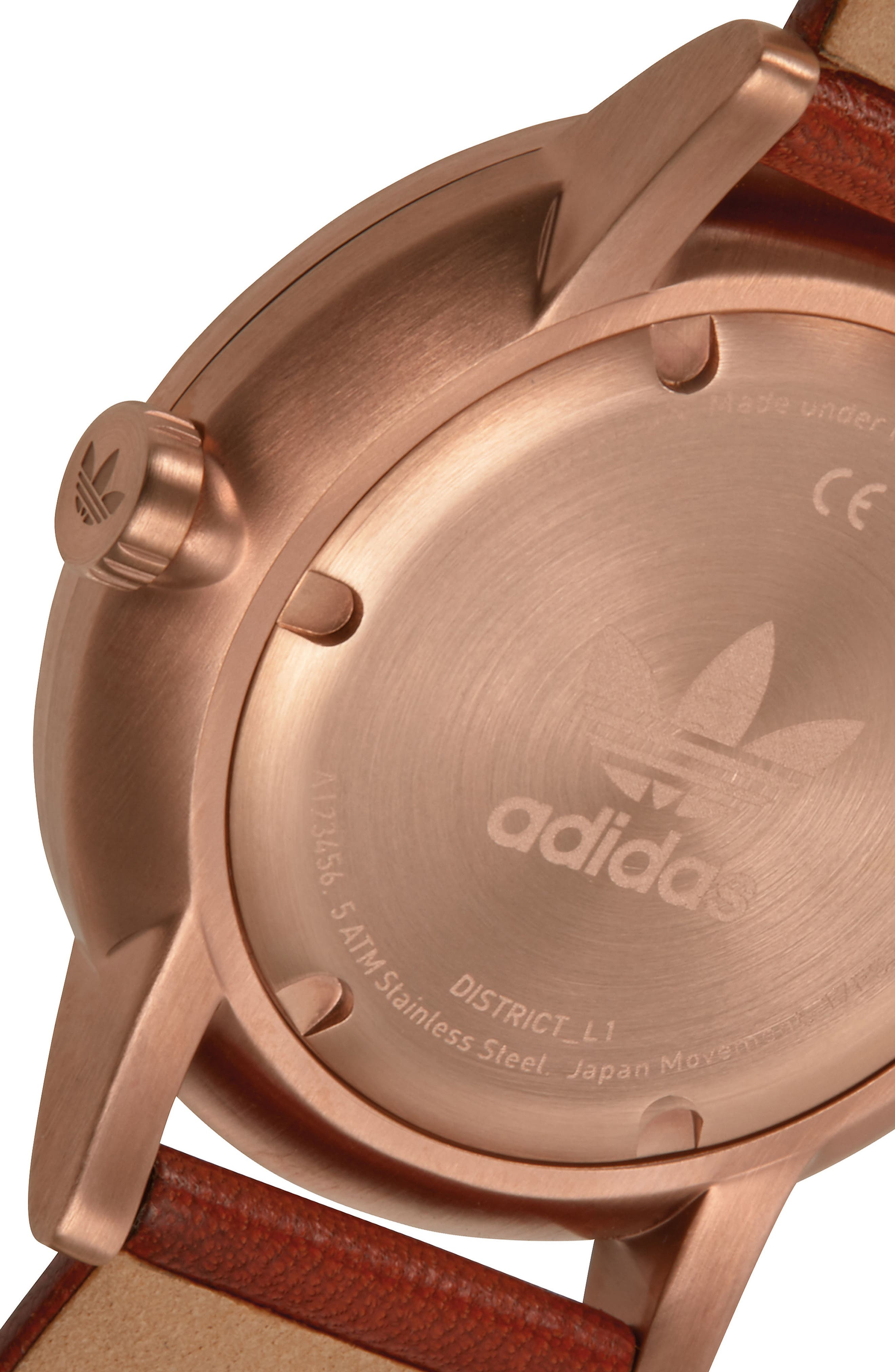 ADIDAS, District Leather Strap Watch, 40mm, Alternate thumbnail 4, color, SADDLE/ SLATE/ ROSE GOLD
