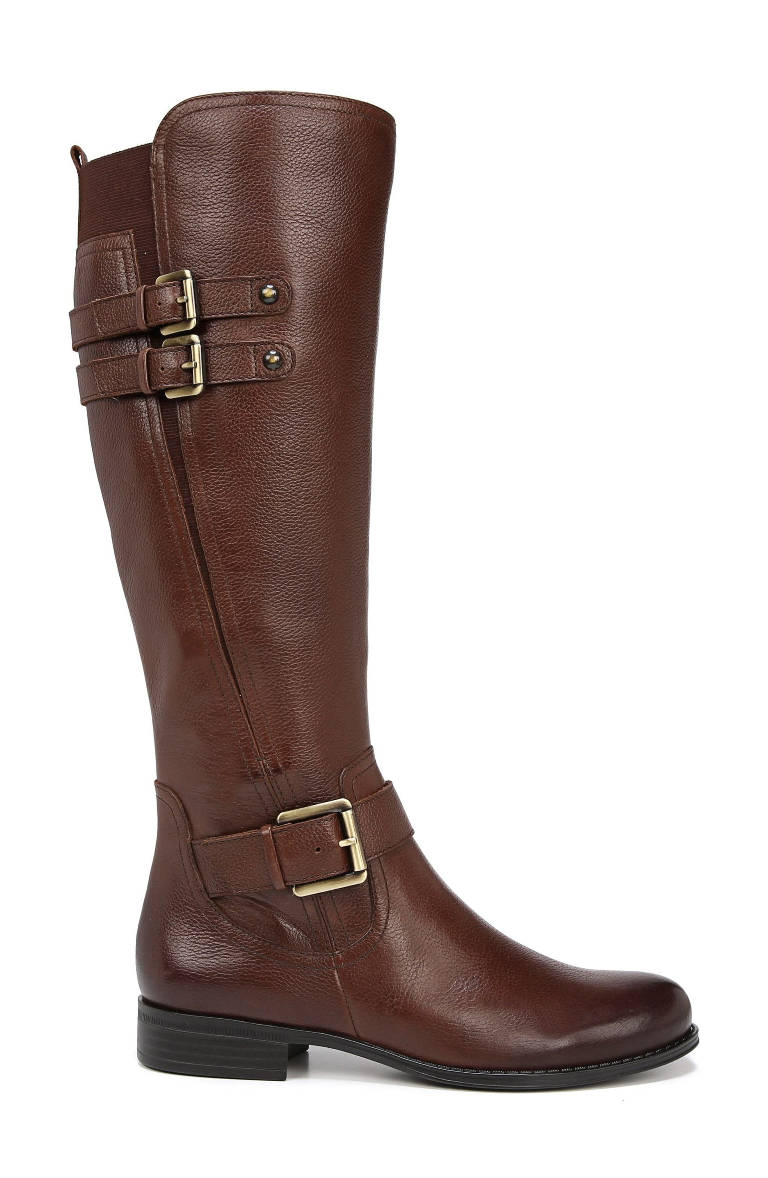 NATURALIZER, Jessie Knee High Riding Boot, Alternate thumbnail 3, color, CHOCOLATE LEATHER