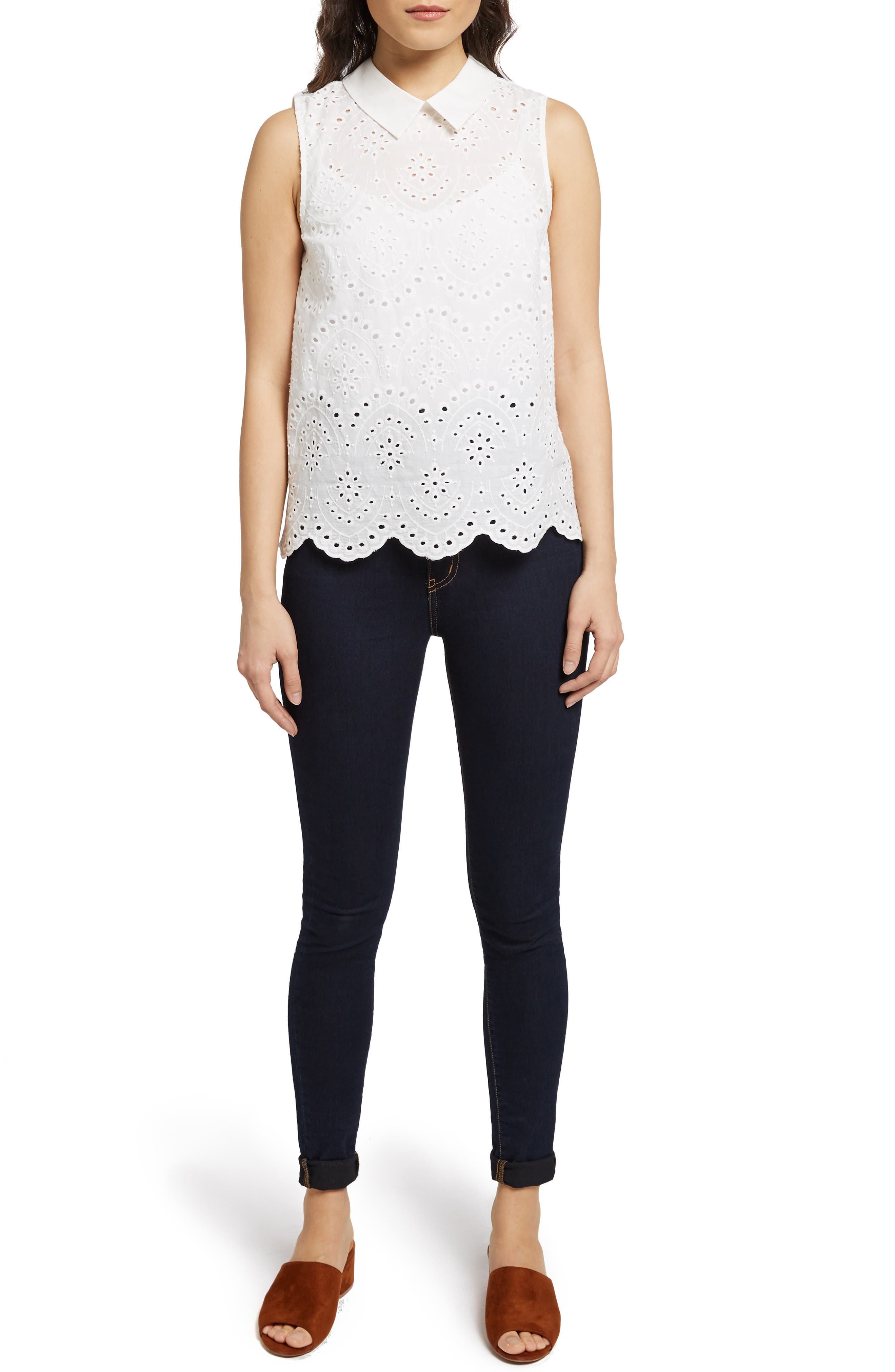 MODCLOTH, Eyelet in the Sun Top, Alternate thumbnail 6, color, WHITE
