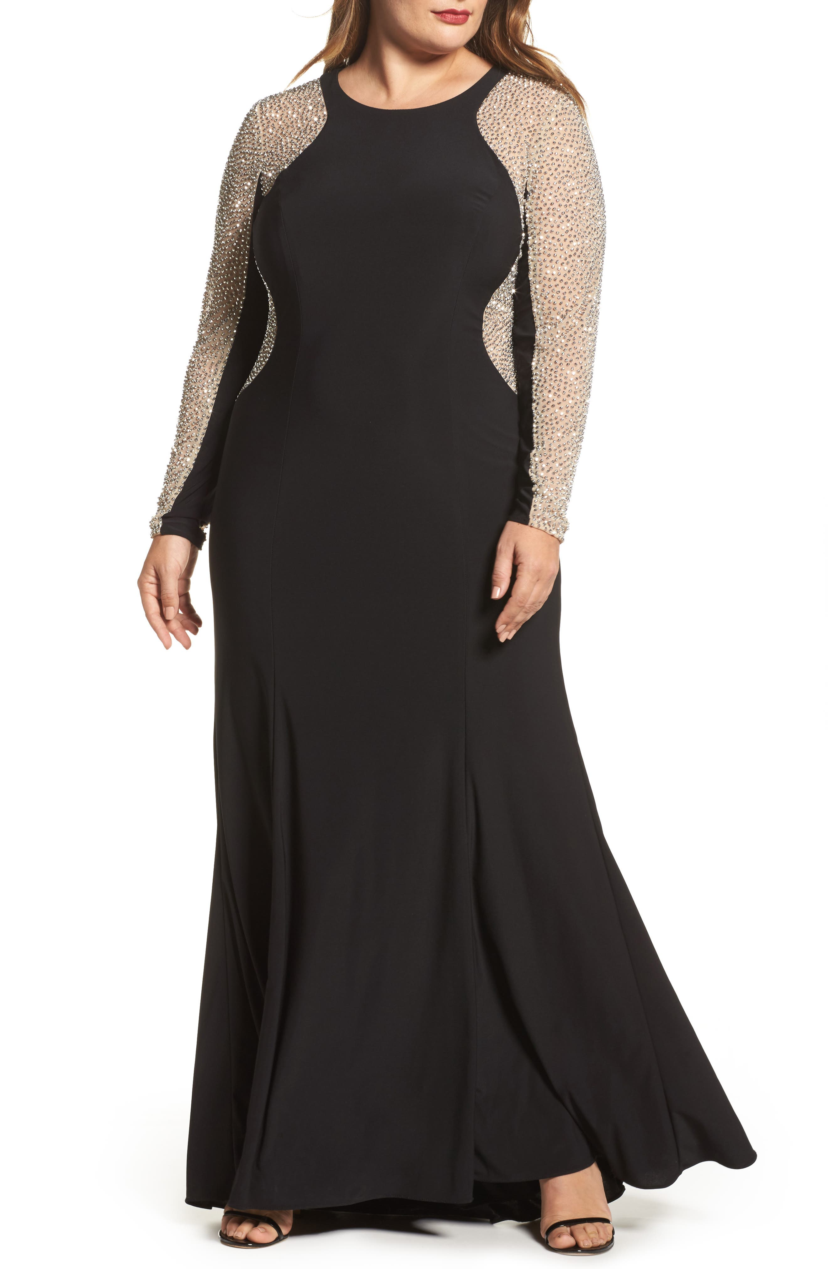 XSCAPE, Embellished Jersey Gown, Main thumbnail 1, color, BLACK/ NUDE/ SILVER