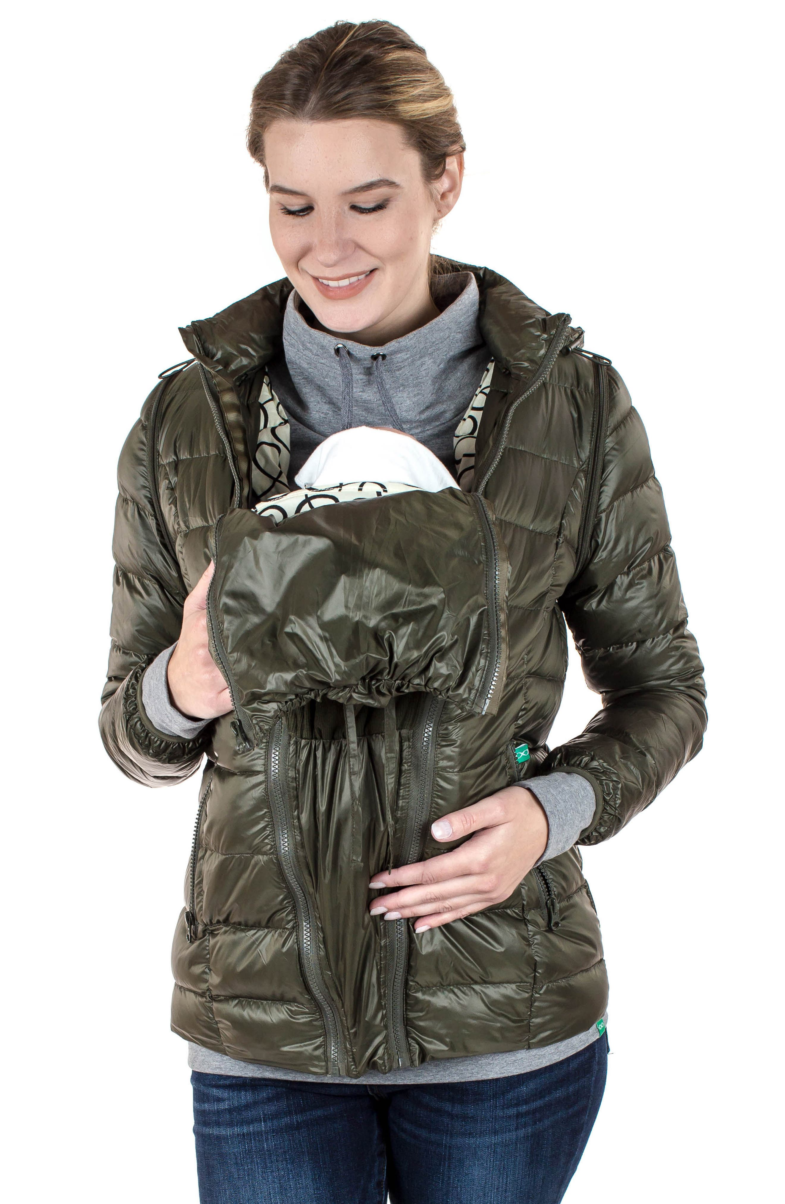 MODERN ETERNITY, Lightweight Puffer Convertible 3-in-1 Maternity Jacket, Alternate thumbnail 16, color, KHAKI GREEN