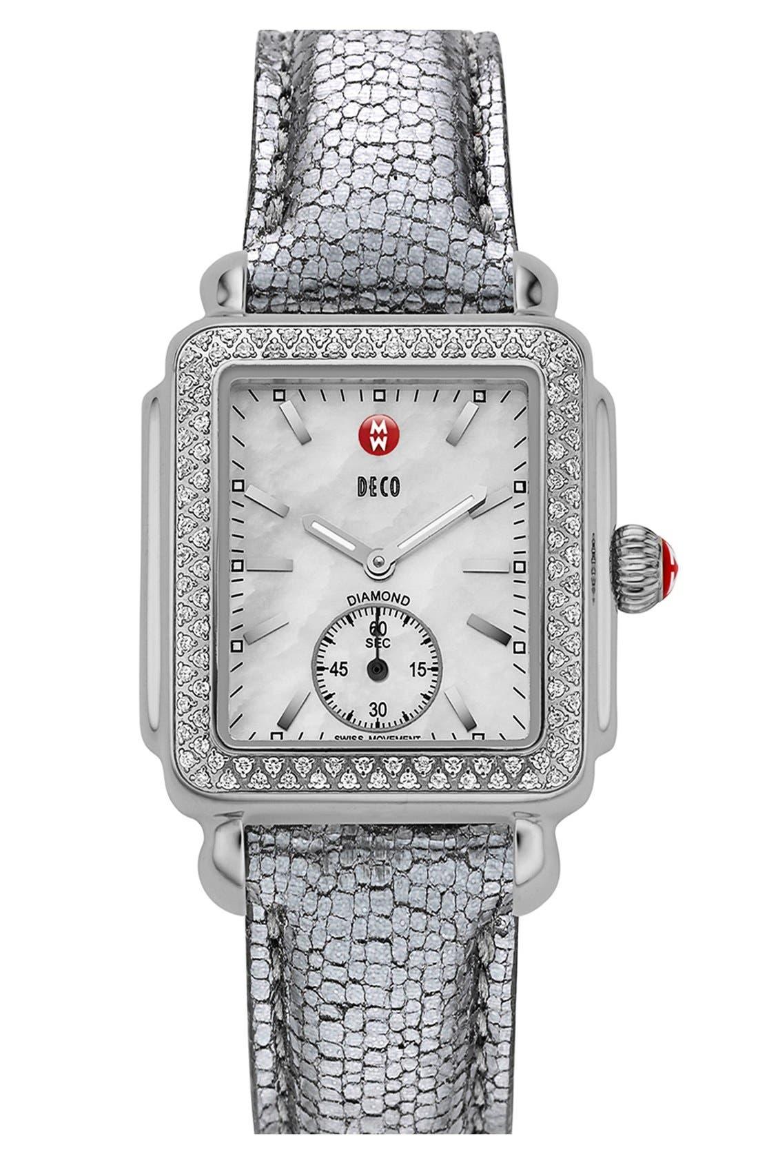 MICHELE, Deco 16 Diamond Watch Head, 29mm x 31mm, Alternate thumbnail 5, color, SILVER