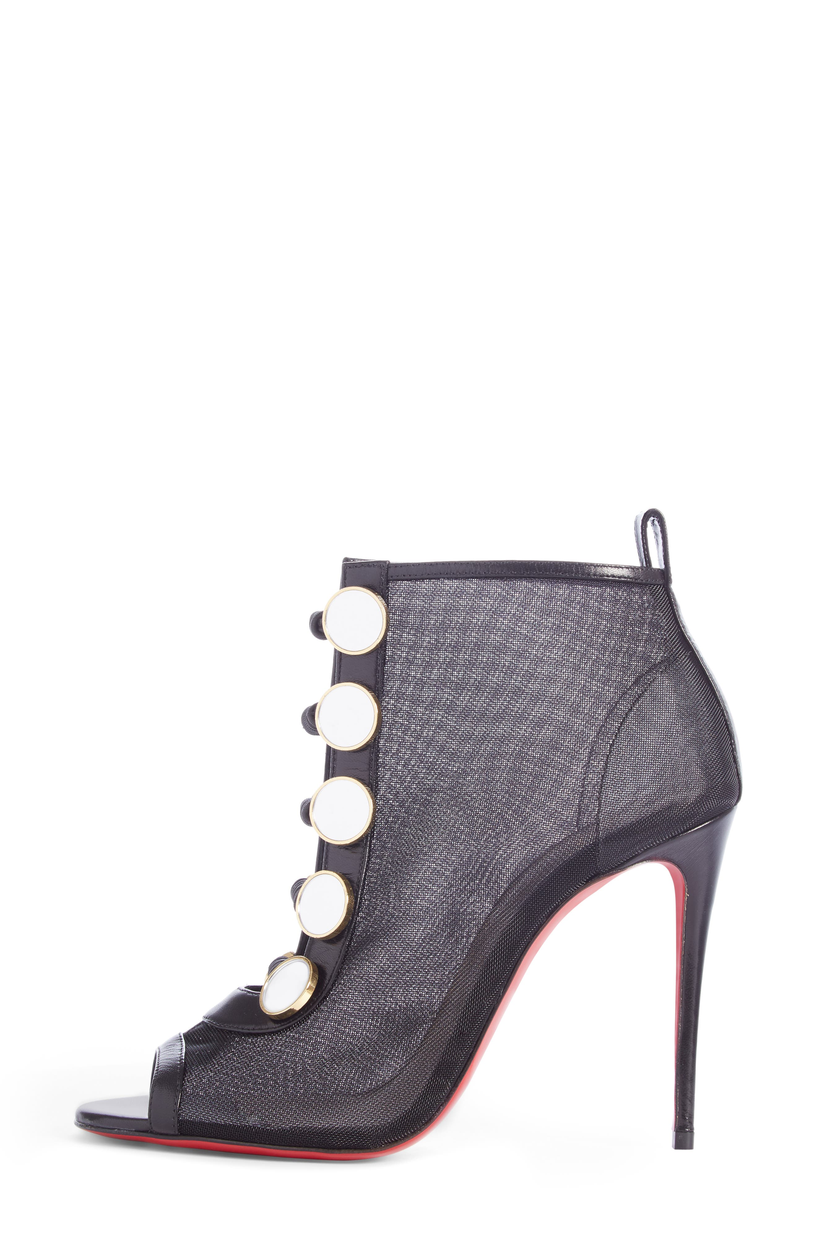 CHRISTIAN LOUBOUTIN, Marika Open Toe Bootie, Alternate thumbnail 3, color, BLACK