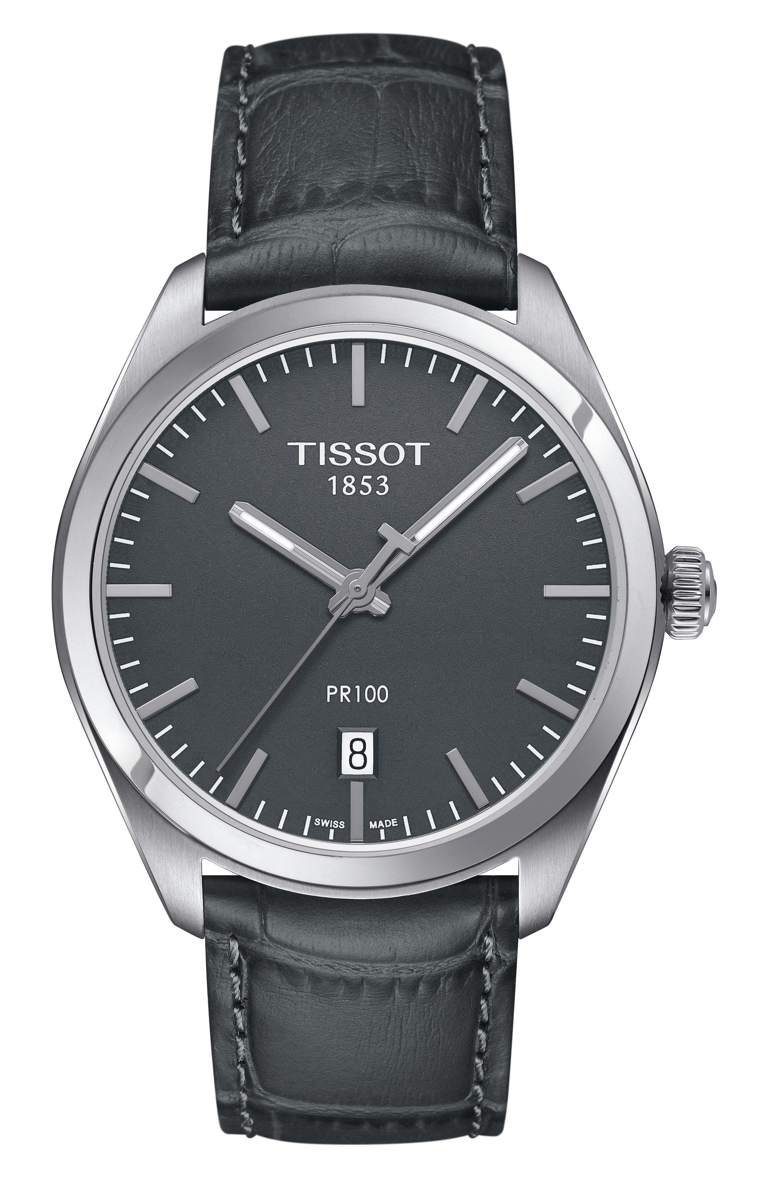 TISSOT 1853 Leather Strap Watch, 39mm, Main, color, GREY/ SILVER