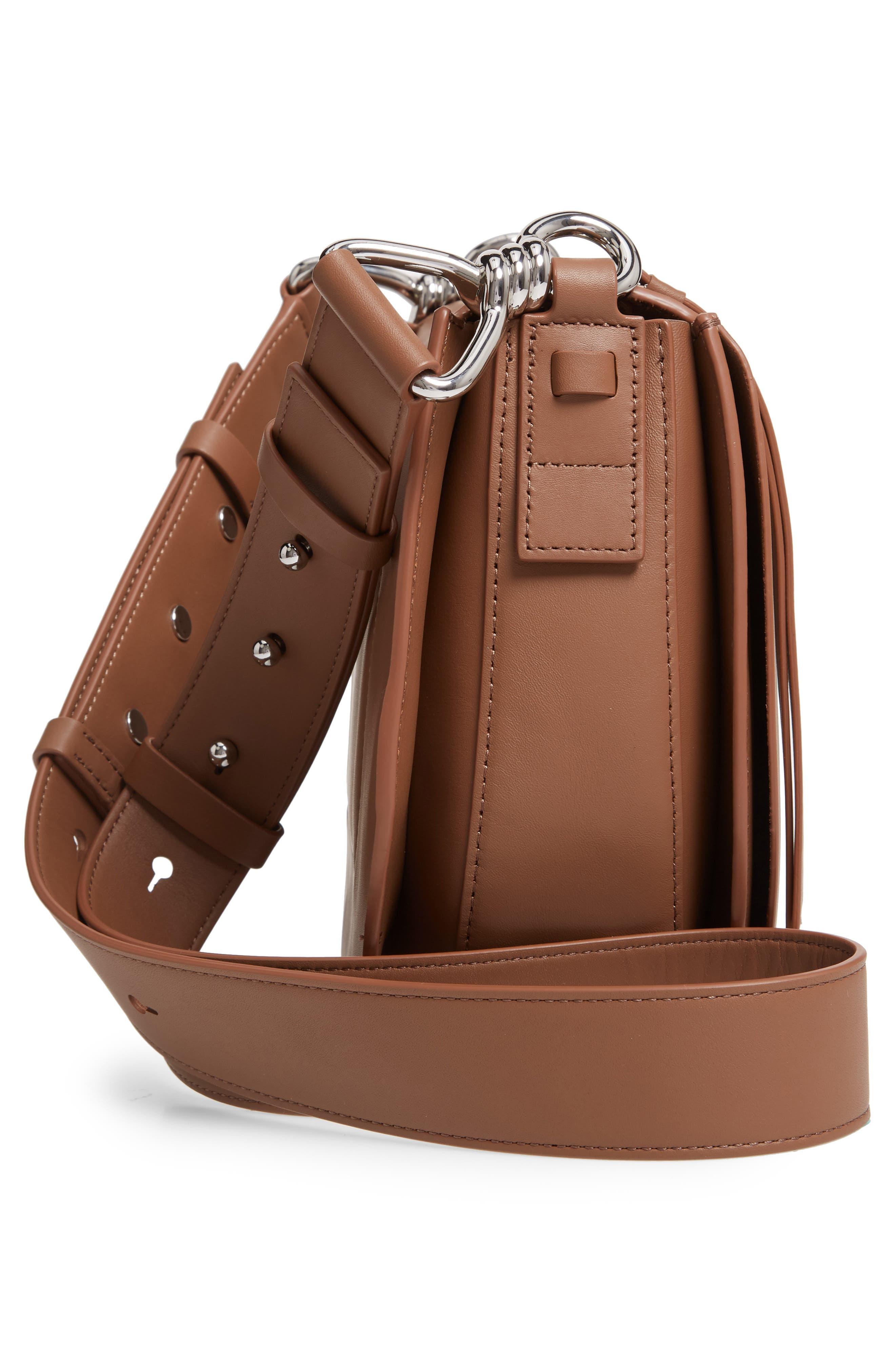 ALLSAINTS, Captain Round Leather Crossbody Bag, Alternate thumbnail 5, color, MILK CHOCOLATE