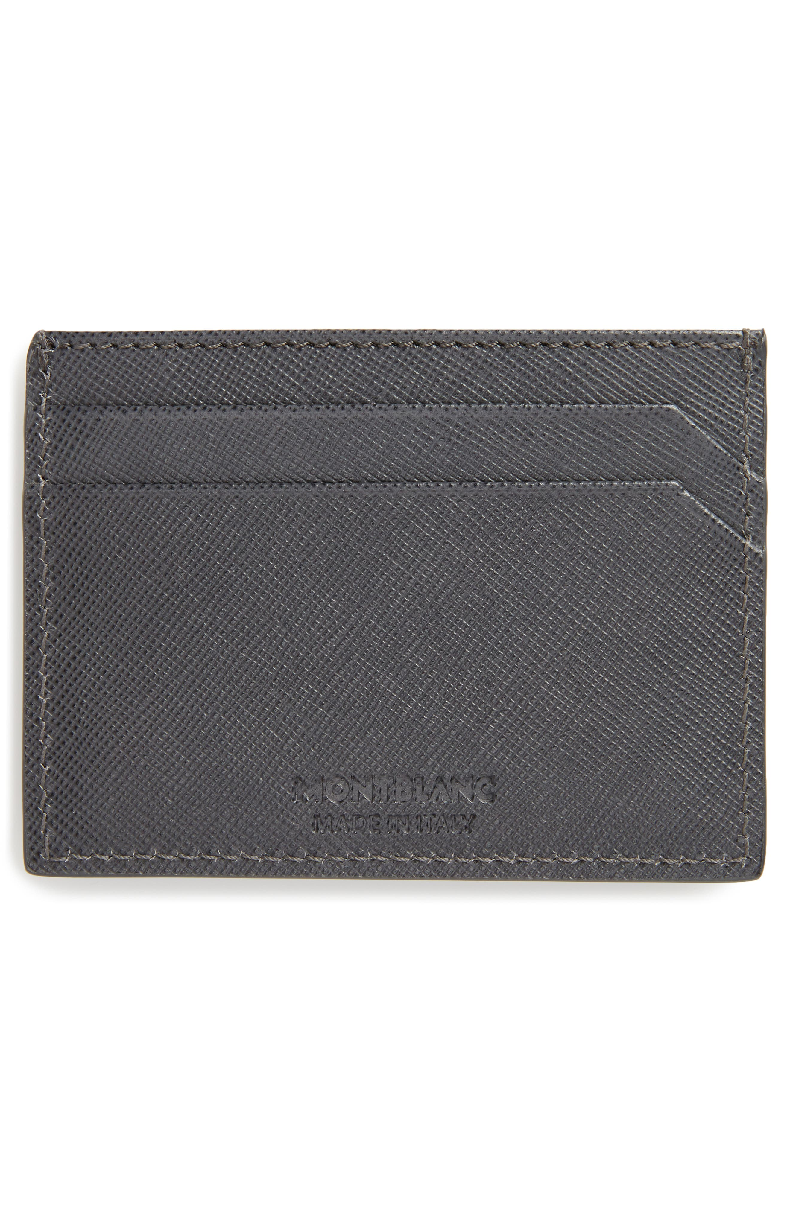 MONTBLANC, Sartorial Leather Card Case, Alternate thumbnail 2, color, DARK GREY