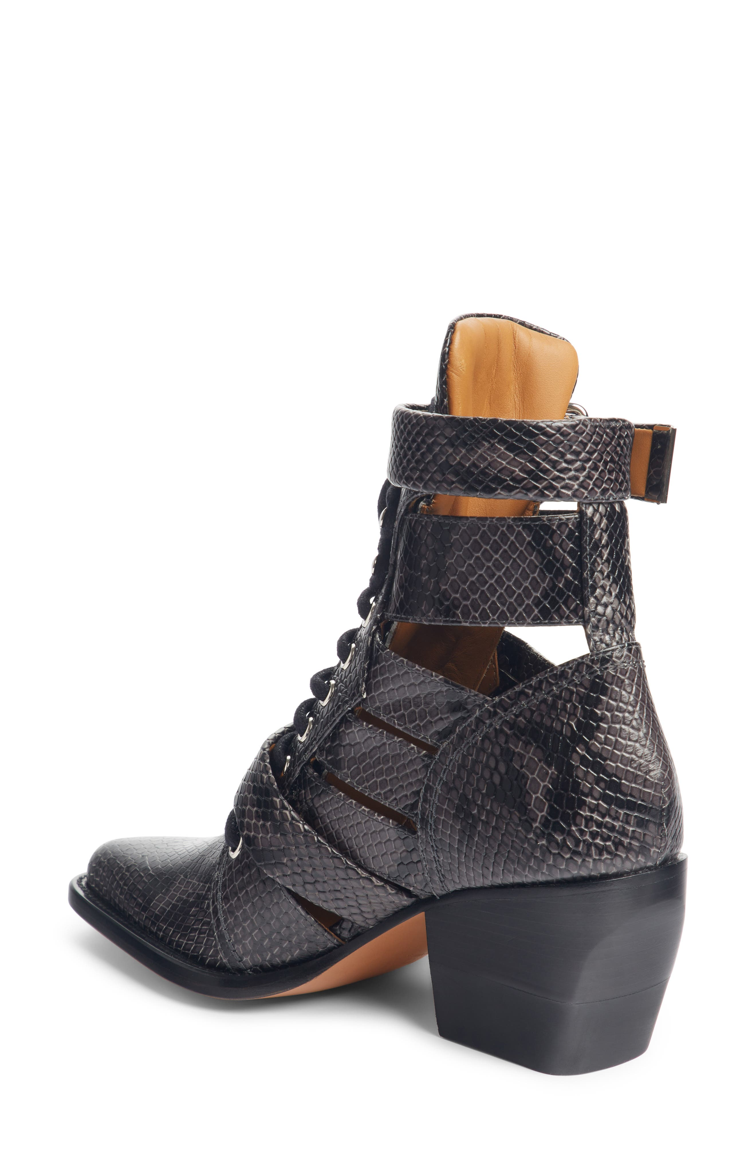 CHLOÉ, Rylee Caged Pointy Toe Boot, Alternate thumbnail 2, color, CHARCOAL BLACK