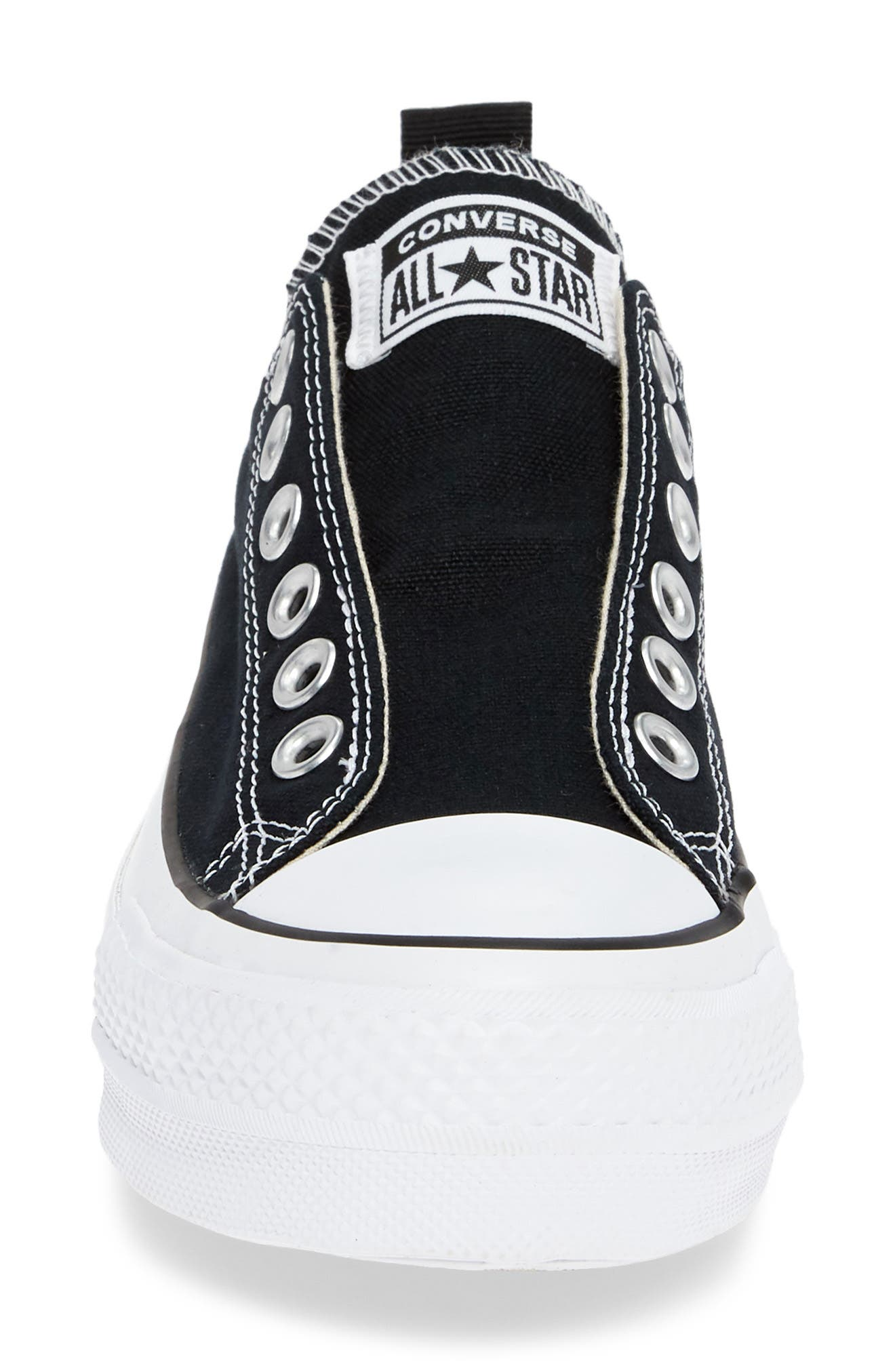 CONVERSE, Chuck Taylor<sup>®</sup> All Star<sup>®</sup> Low Top Sneaker, Alternate thumbnail 4, color, BLACK/ WHITE/ BLACK