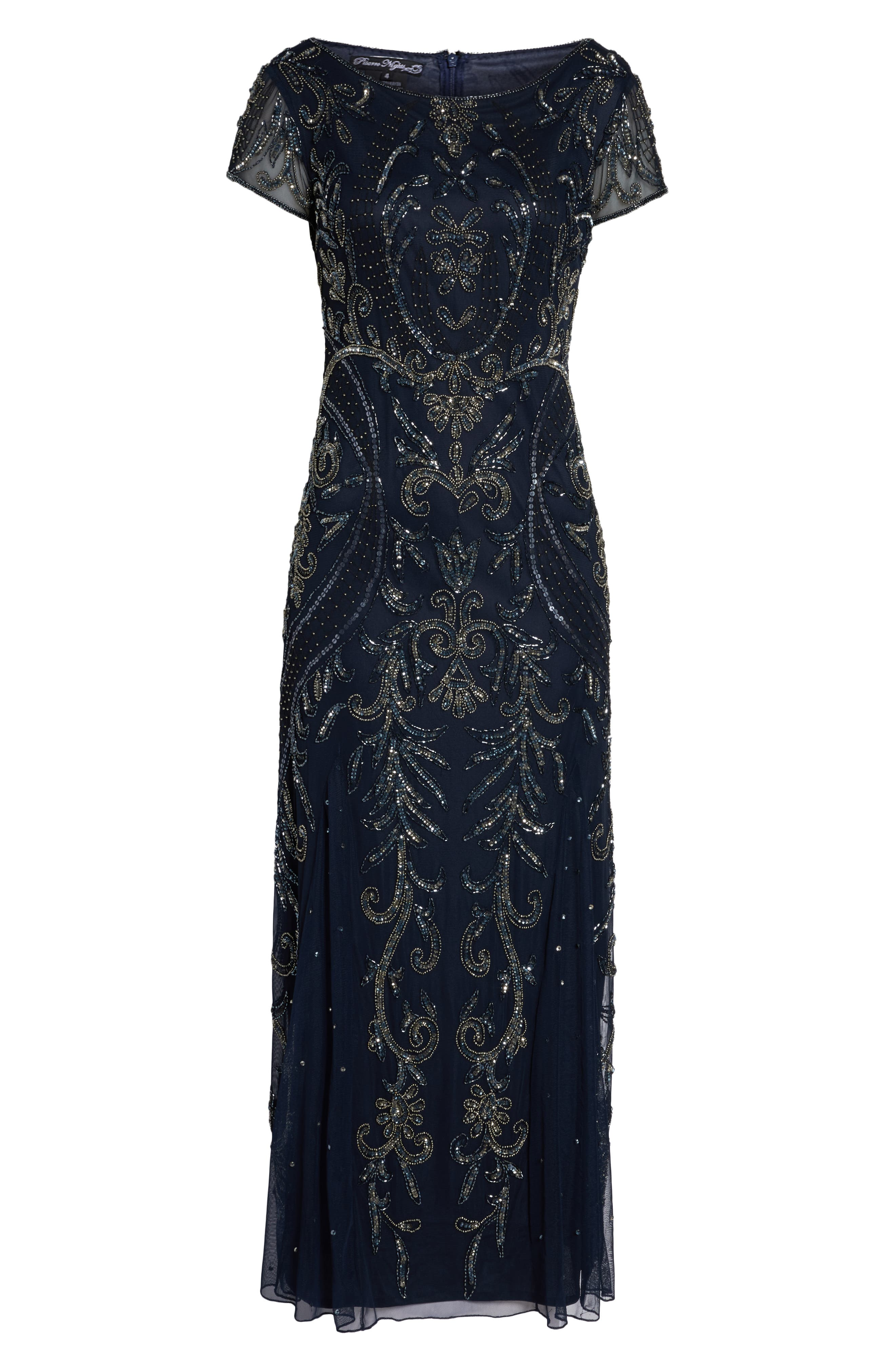 PISARRO NIGHTS, Embellished Mesh Gown, Alternate thumbnail 7, color, NAVY