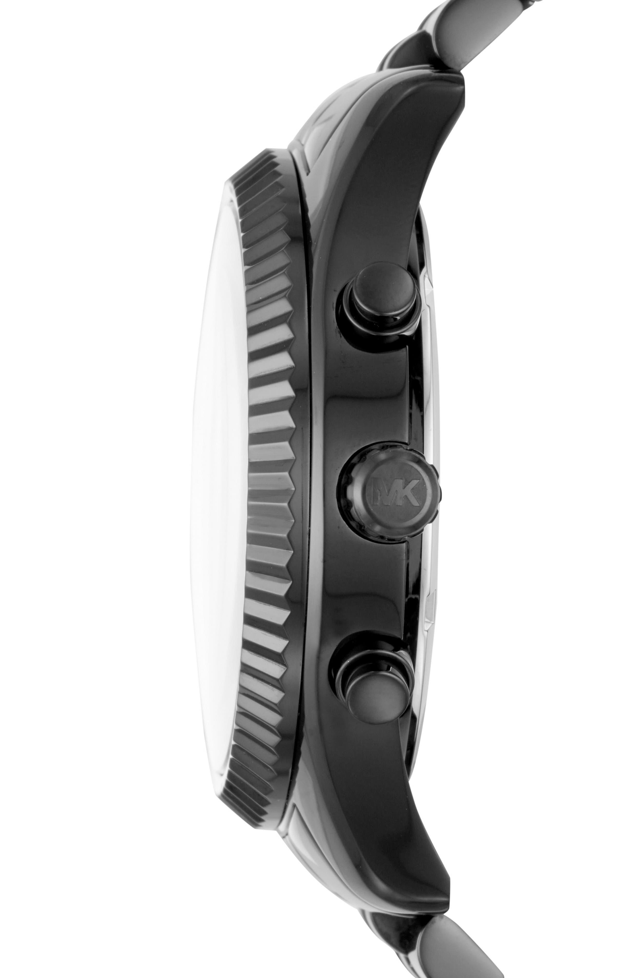 MICHAEL KORS, Lexington Pavé Chronograph Bracelet Watch, 45mm x 54mm, Alternate thumbnail 2, color, BLACK/ SILVER/ BLACK