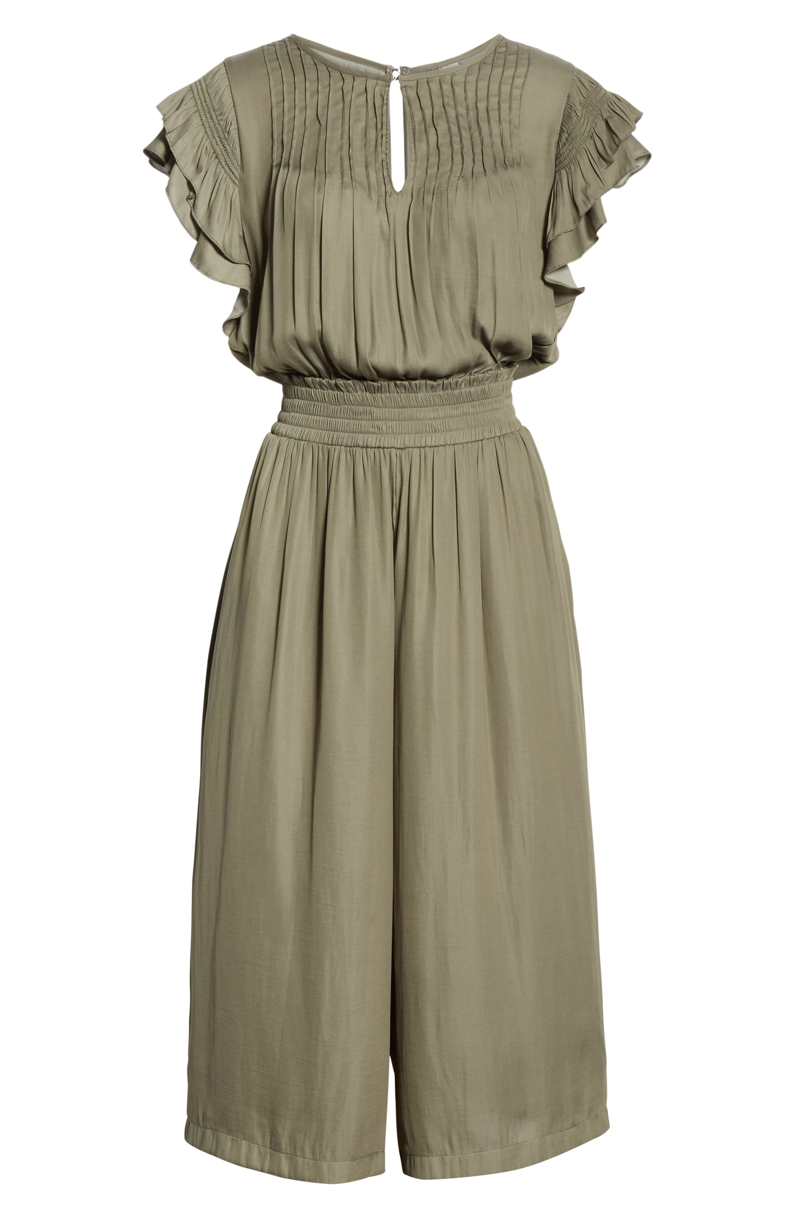 DOLAN, Carrie Pintucked Jumpsuit, Alternate thumbnail 7, color, SAGE