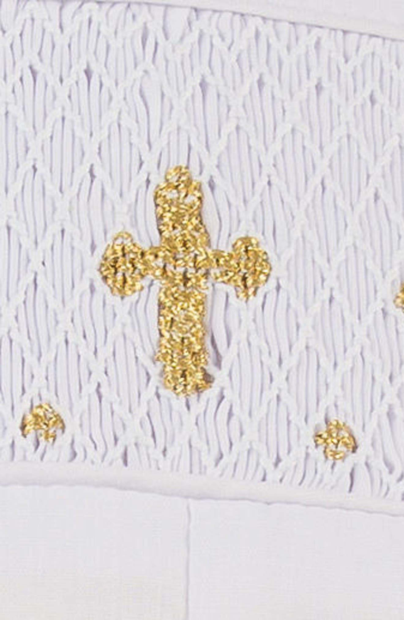 CARRIAGE BOUTIQUE, Christening Romper & Bonnet Set, Alternate thumbnail 2, color, WHITE