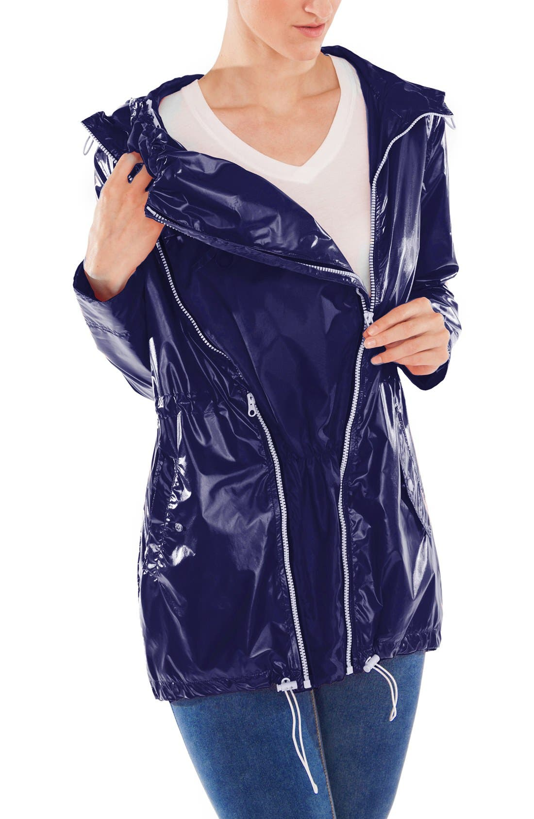 MODERN ETERNITY, Waterproof Convertible 3-in-1 Maternity Raincoat, Alternate thumbnail 11, color, BRIGHT NAVY