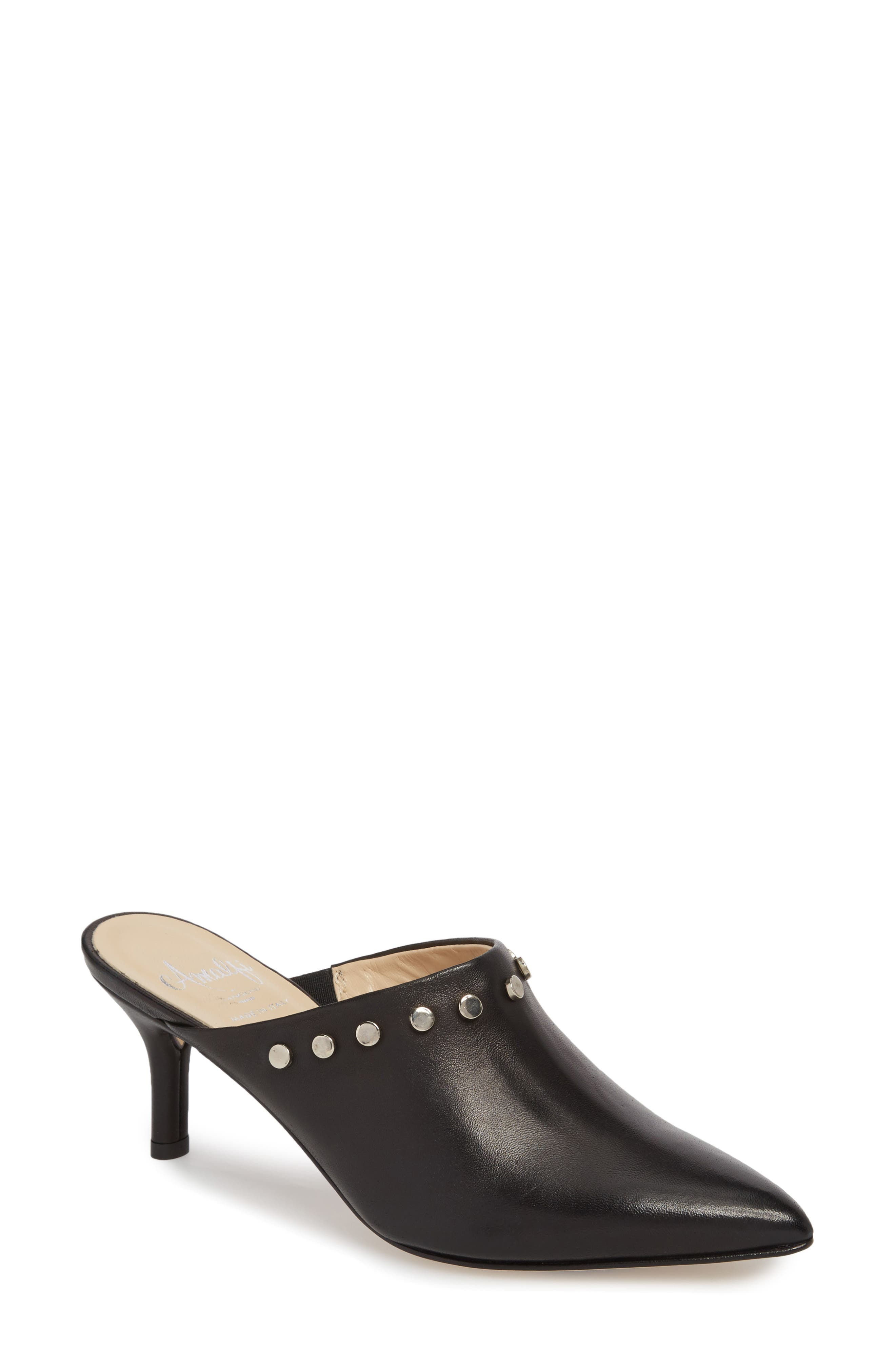 AMALFI BY RANGONI, Priamo Mule, Main thumbnail 1, color, BLACK LEATHER