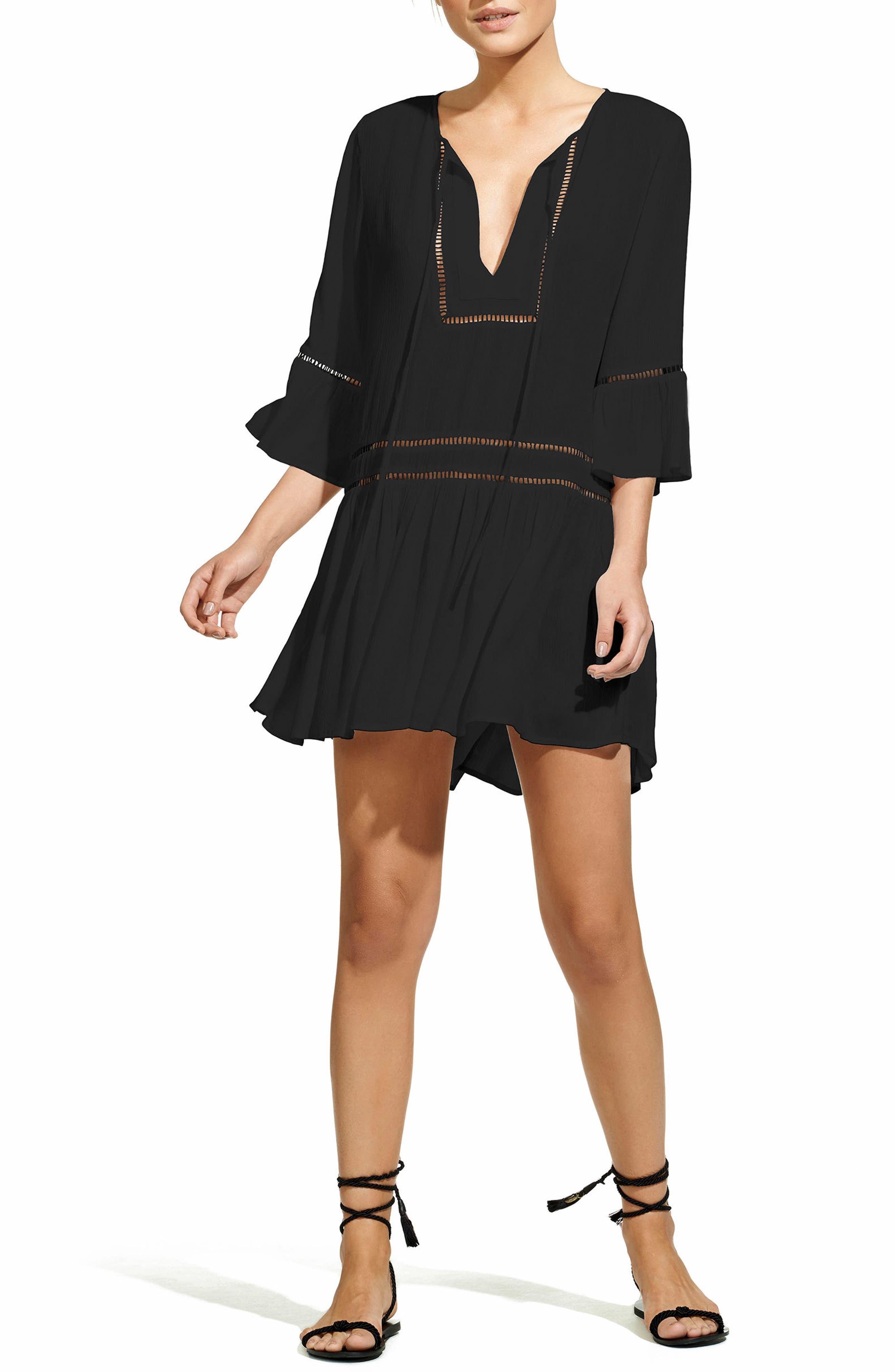 VIX SWIMWEAR, Agatha Cover-Up Dress, Main thumbnail 1, color, 001