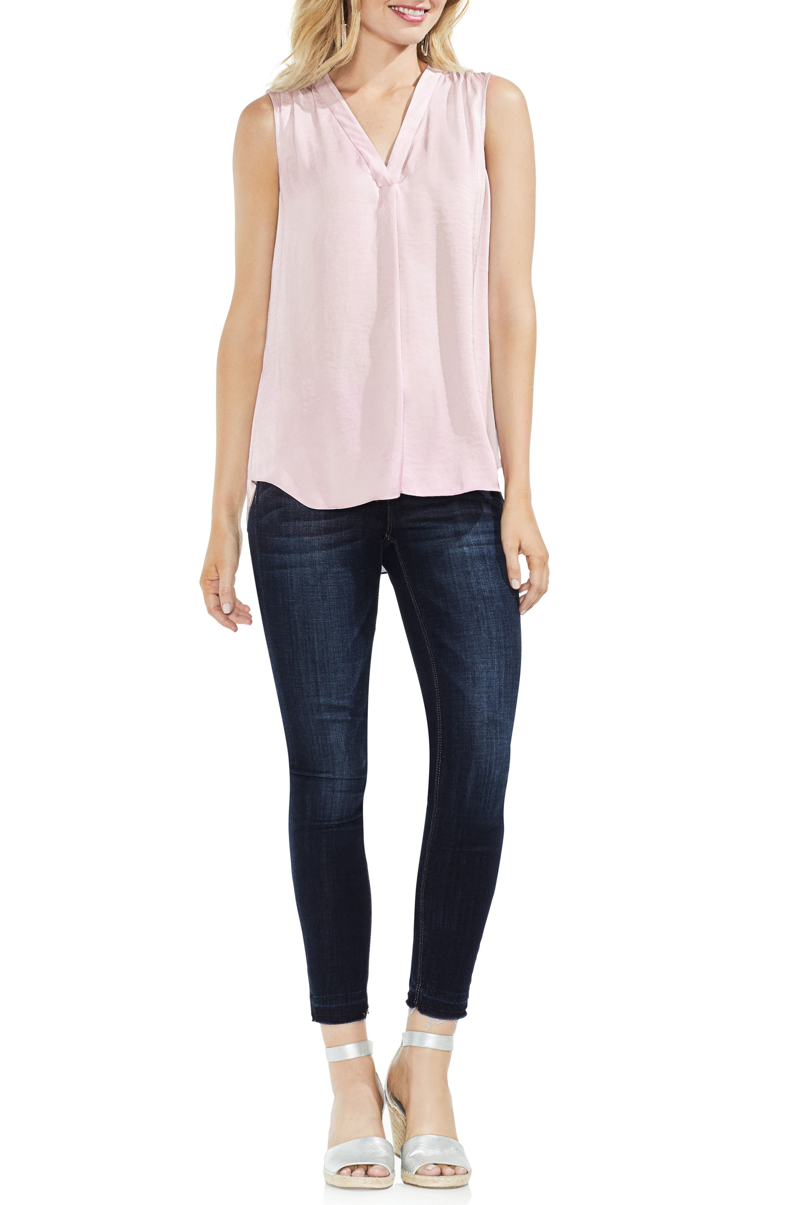 VINCE CAMUTO, Rumpled Satin Blouse, Alternate thumbnail 5, color, PINK BLISS