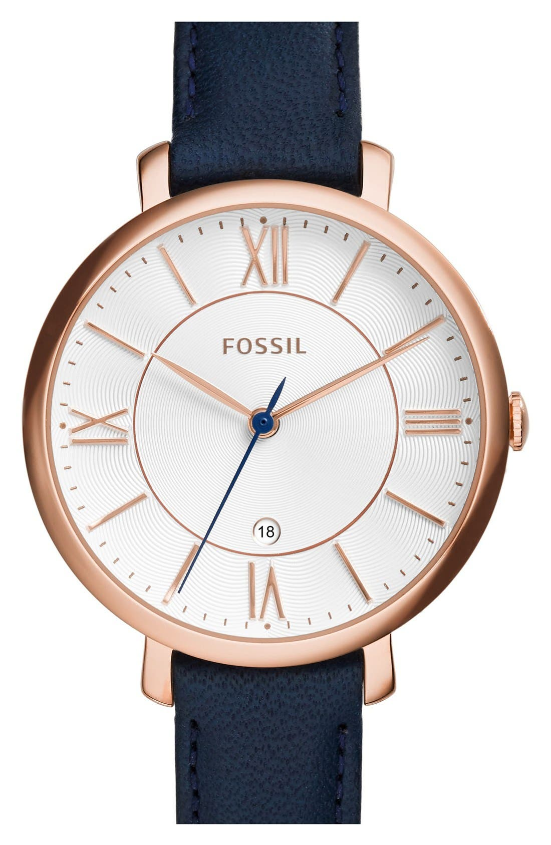 FOSSIL, 'Jacqueline' Round Leather Strap Watch, 36mm, Main thumbnail 1, color, NAVY/ ROSE GOLD
