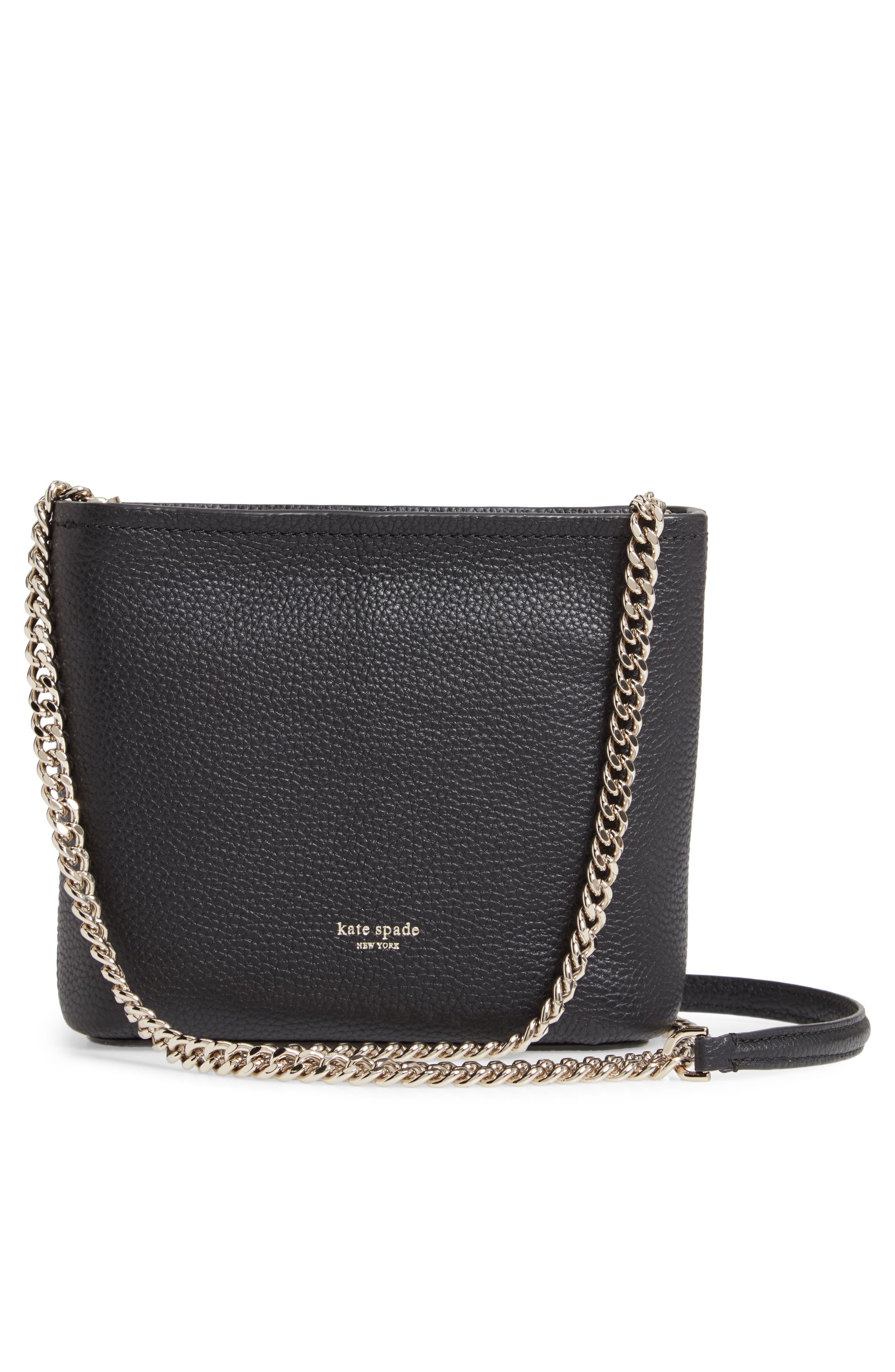 KATE SPADE NEW YORK, small polly leather crossbody bag, Alternate thumbnail 4, color, BLACK