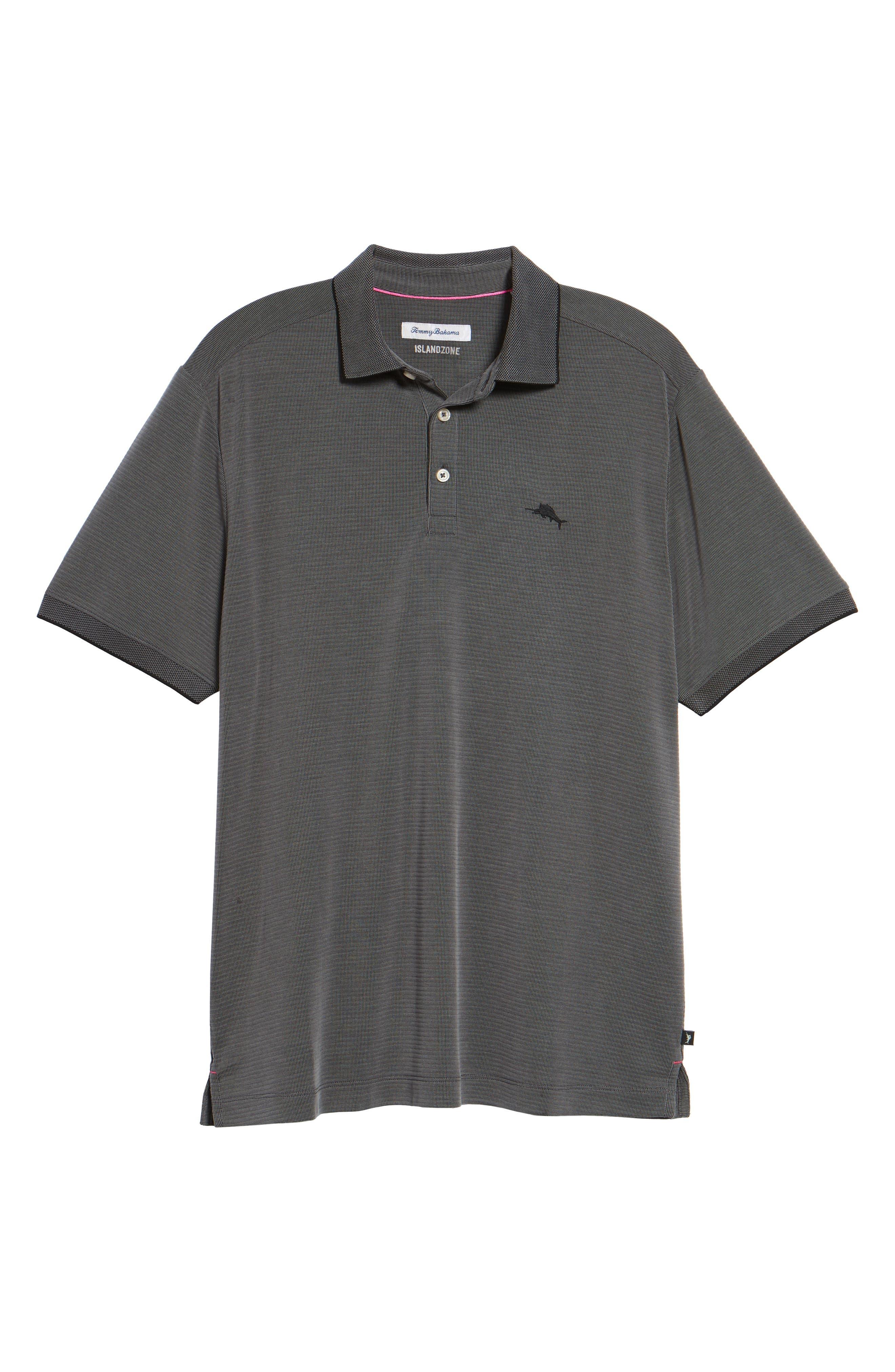 TOMMY BAHAMA, Coastal Crest Polo, Alternate thumbnail 6, color, BLACK