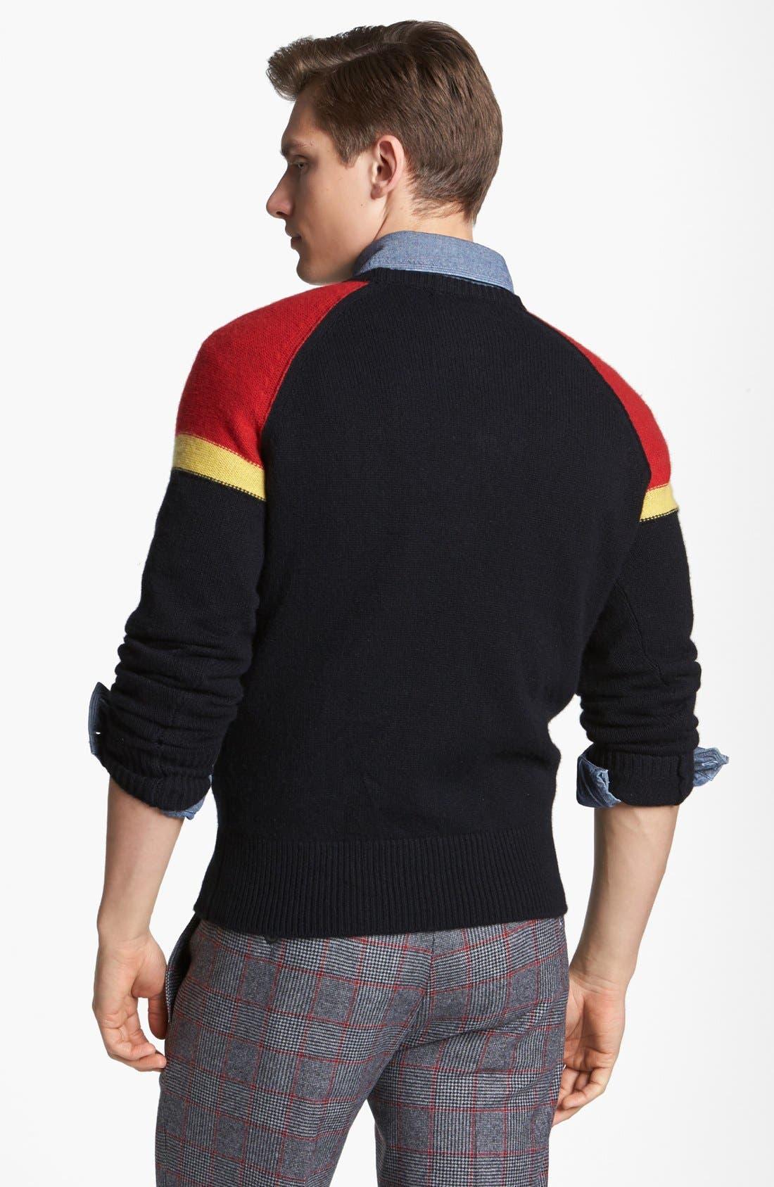 MICHAEL BASTIAN, Cashmere Crewneck Sweater, Alternate thumbnail 3, color, 001