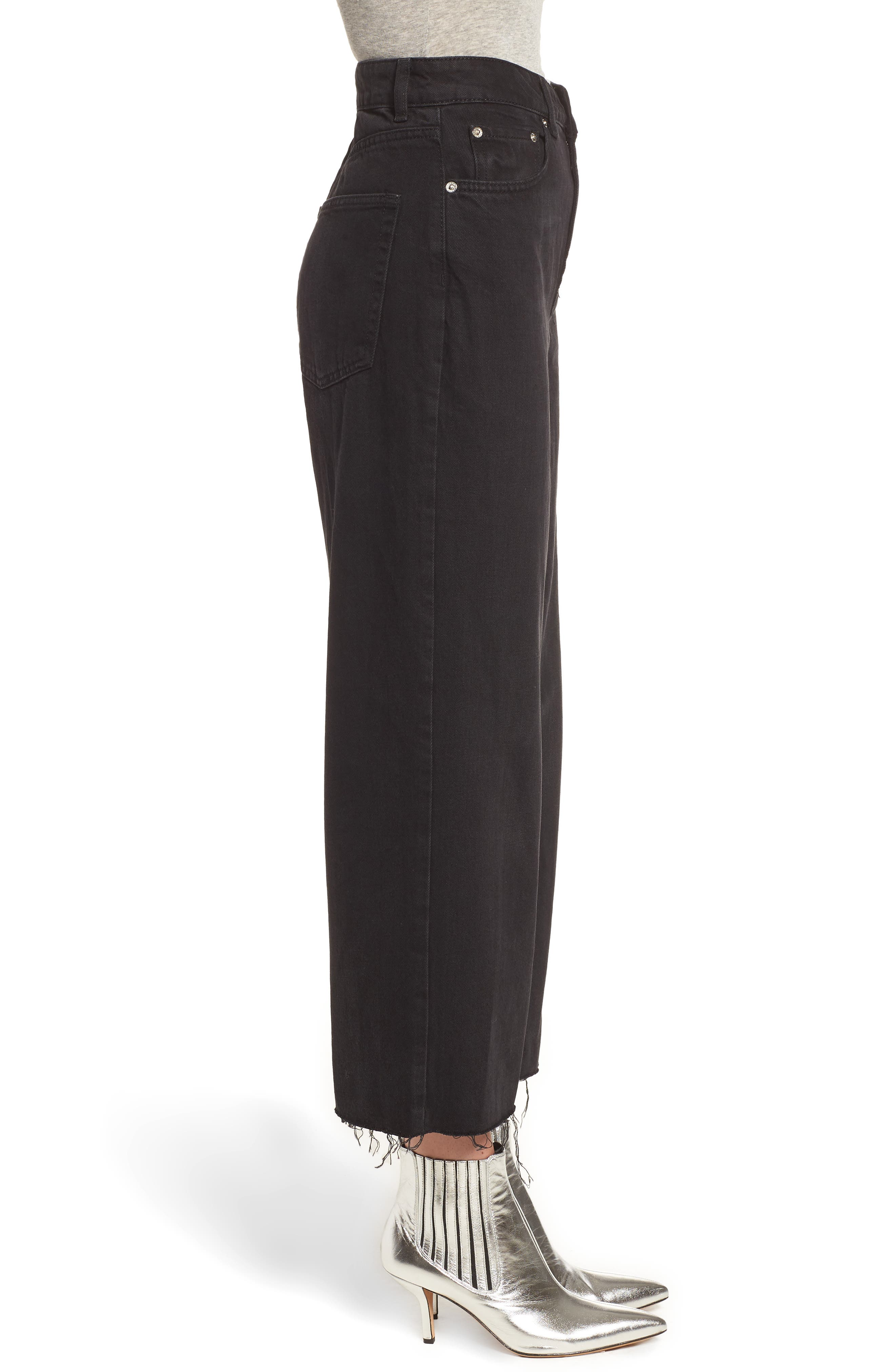 TOPSHOP, Wide Leg Crop Jeans, Alternate thumbnail 4, color, WASHED BLACK