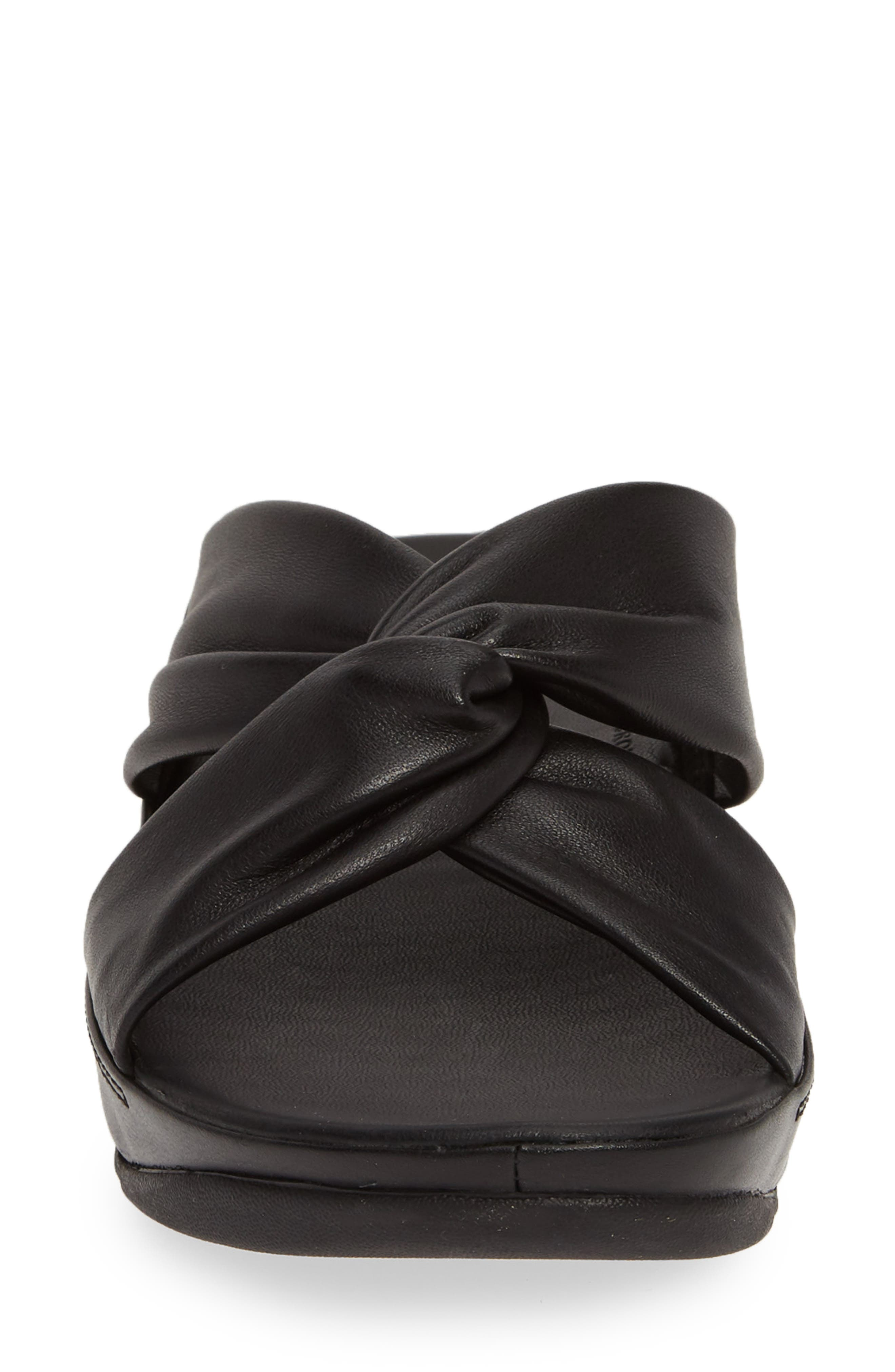 FITFLOP, Twiss Slide Sandal, Alternate thumbnail 4, color, BLACK LEATHER