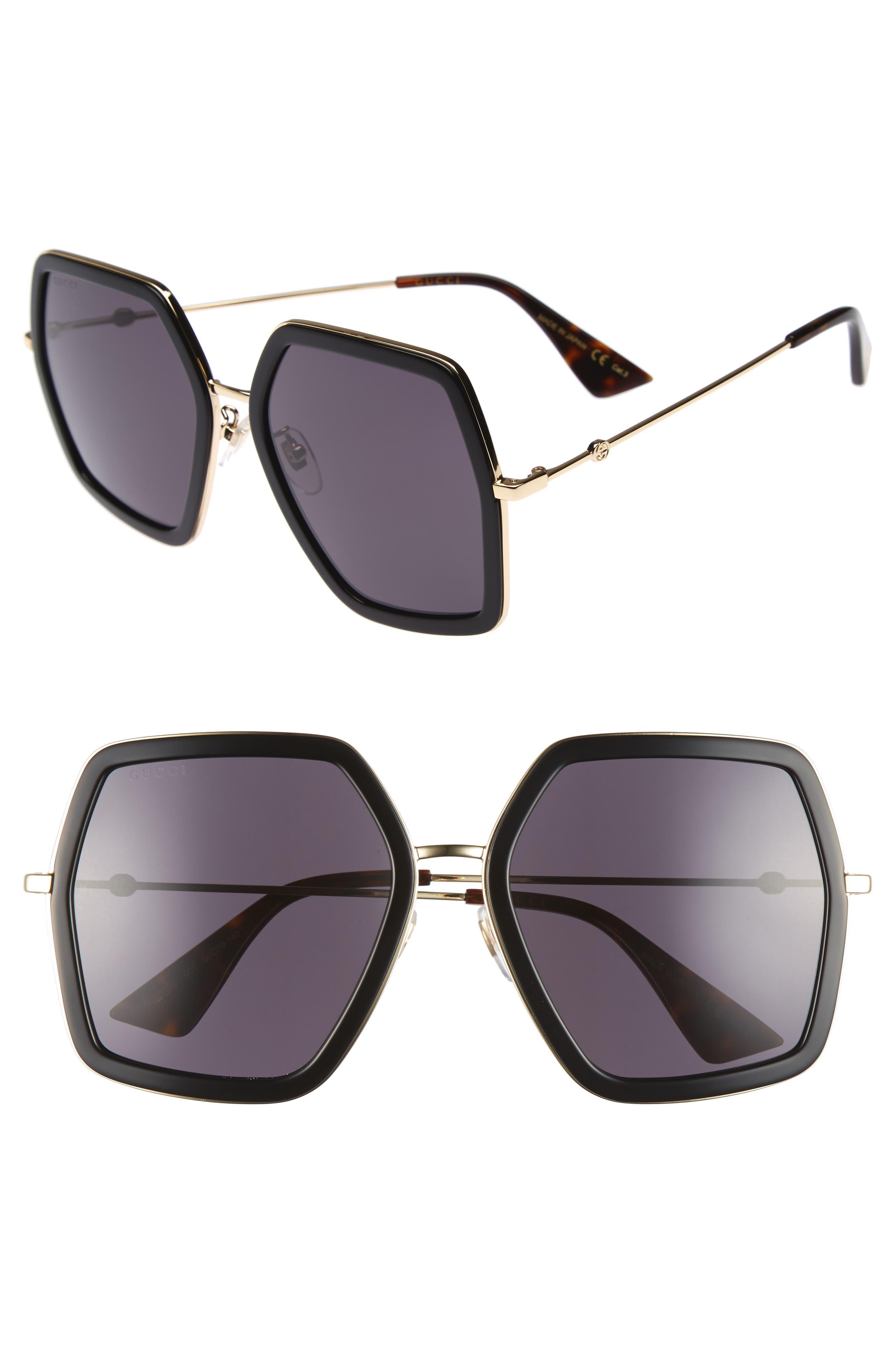 GUCCI, 56mm Sunglasses, Main thumbnail 1, color, BLACK/ GREY