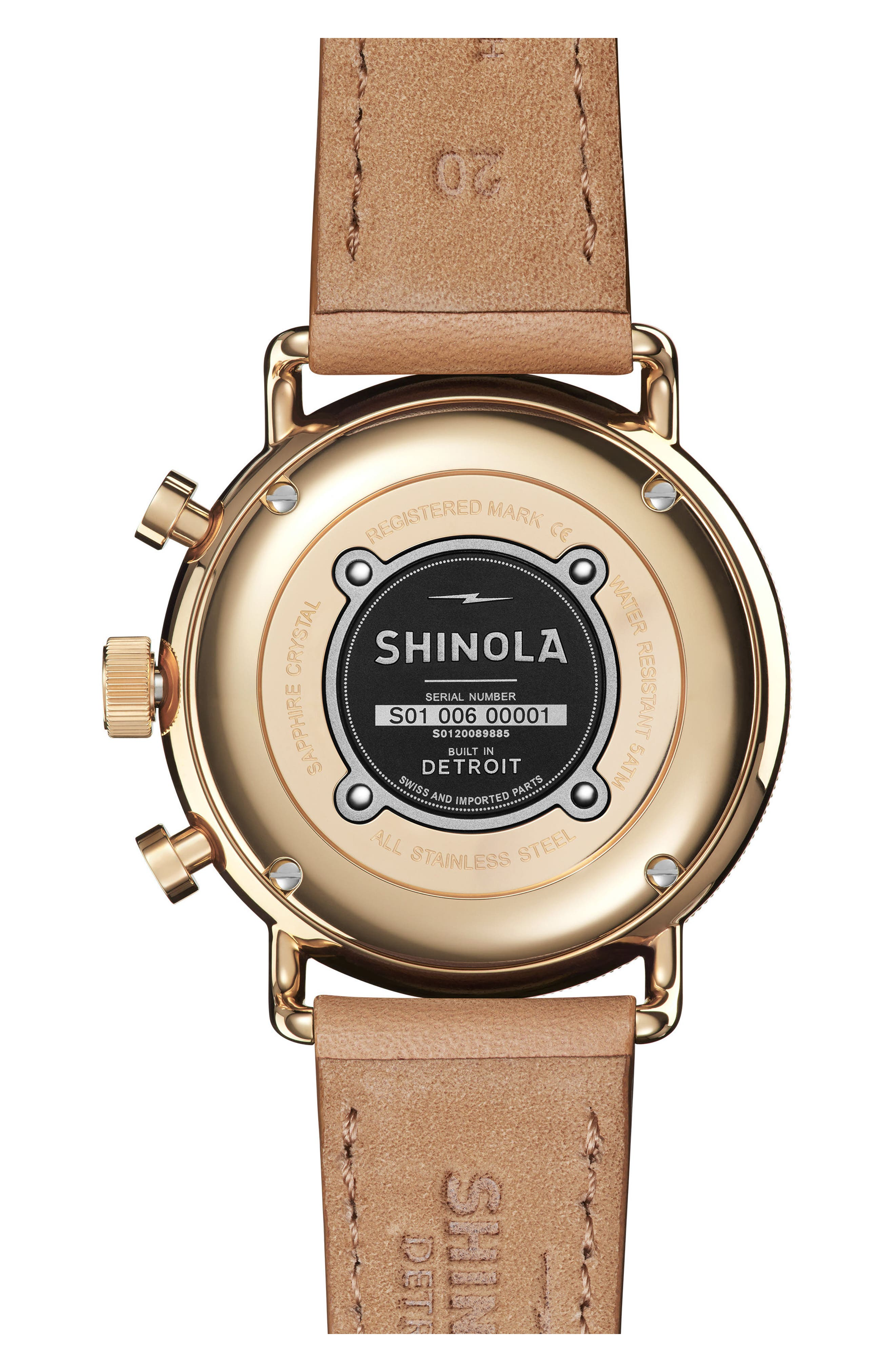 SHINOLA, The Canfield Chrono Leather Strap Watch, 40mm, Alternate thumbnail 2, color, CAMEL/ WHITE/ GOLD