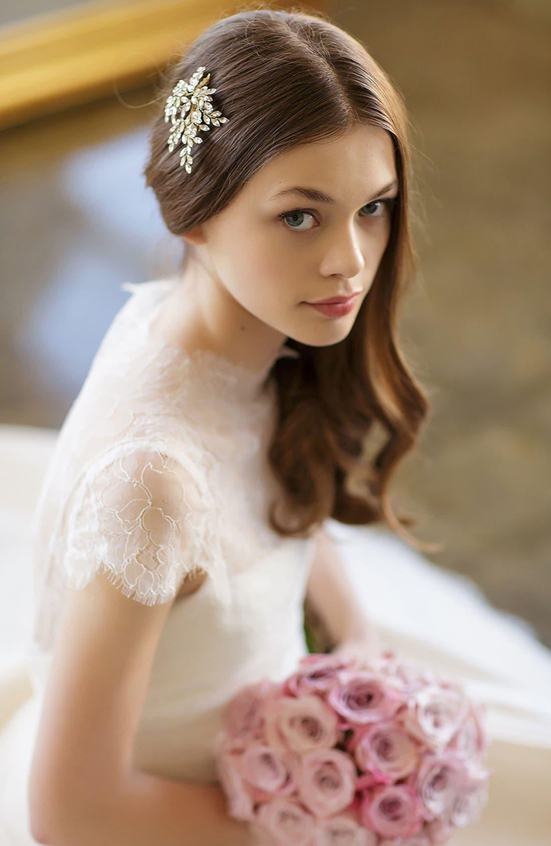 BRIDES & HAIRPINS, 'Sahara' Crystal Leaf Bendable Hair Clip, Alternate thumbnail 4, color, GOLD