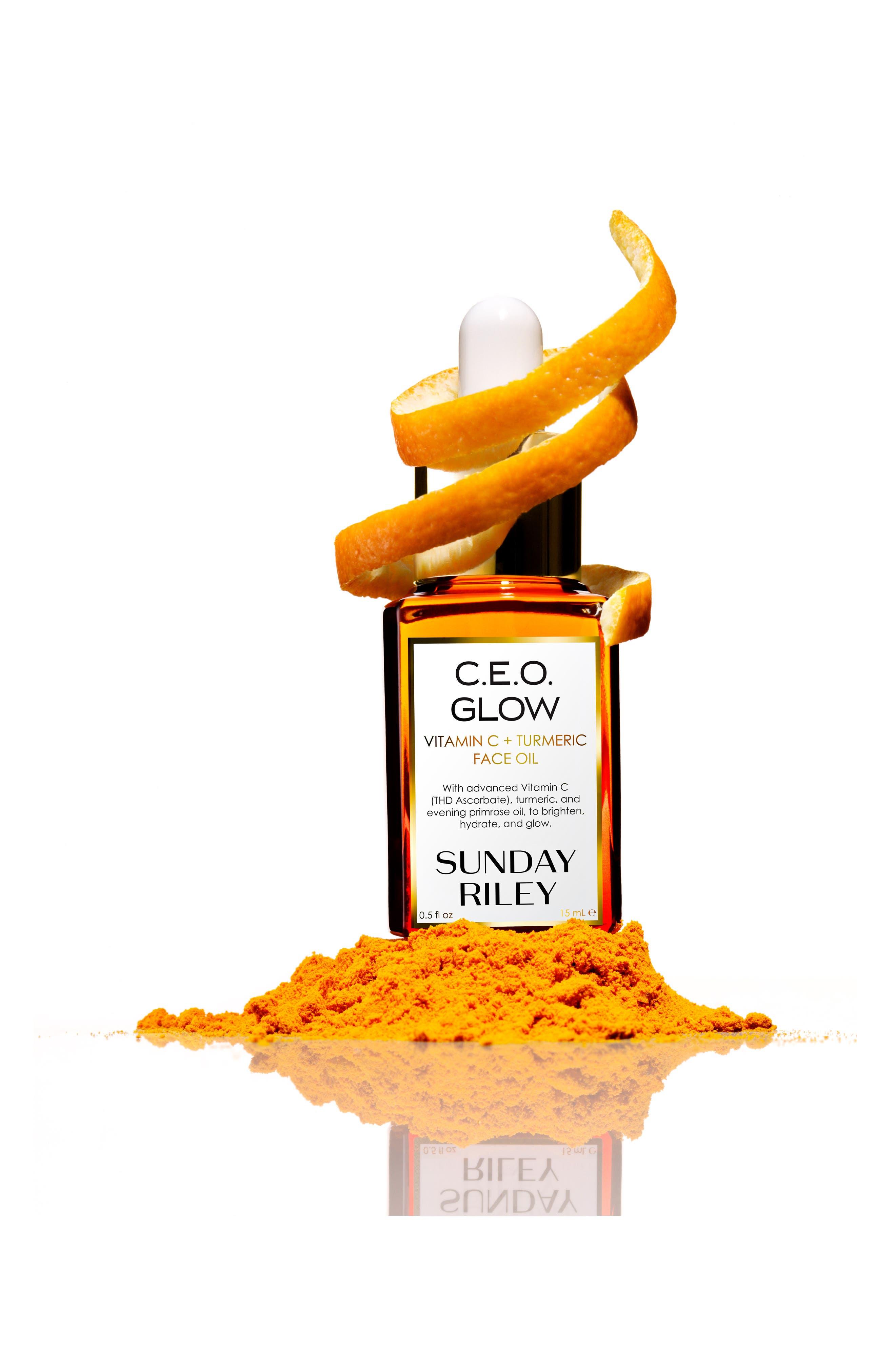 SUNDAY RILEY, SPACE.NK.apothecary Sunday Riley C.E.O. Glow Vitamin C + Turmeric Face Oil, Alternate thumbnail 8, color, NO COLOR
