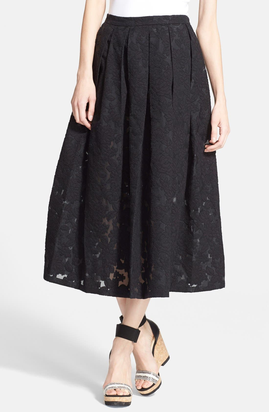 MICHAEL KORS, Floral Embroidered Pleated Midi Skirt, Main thumbnail 1, color, 001