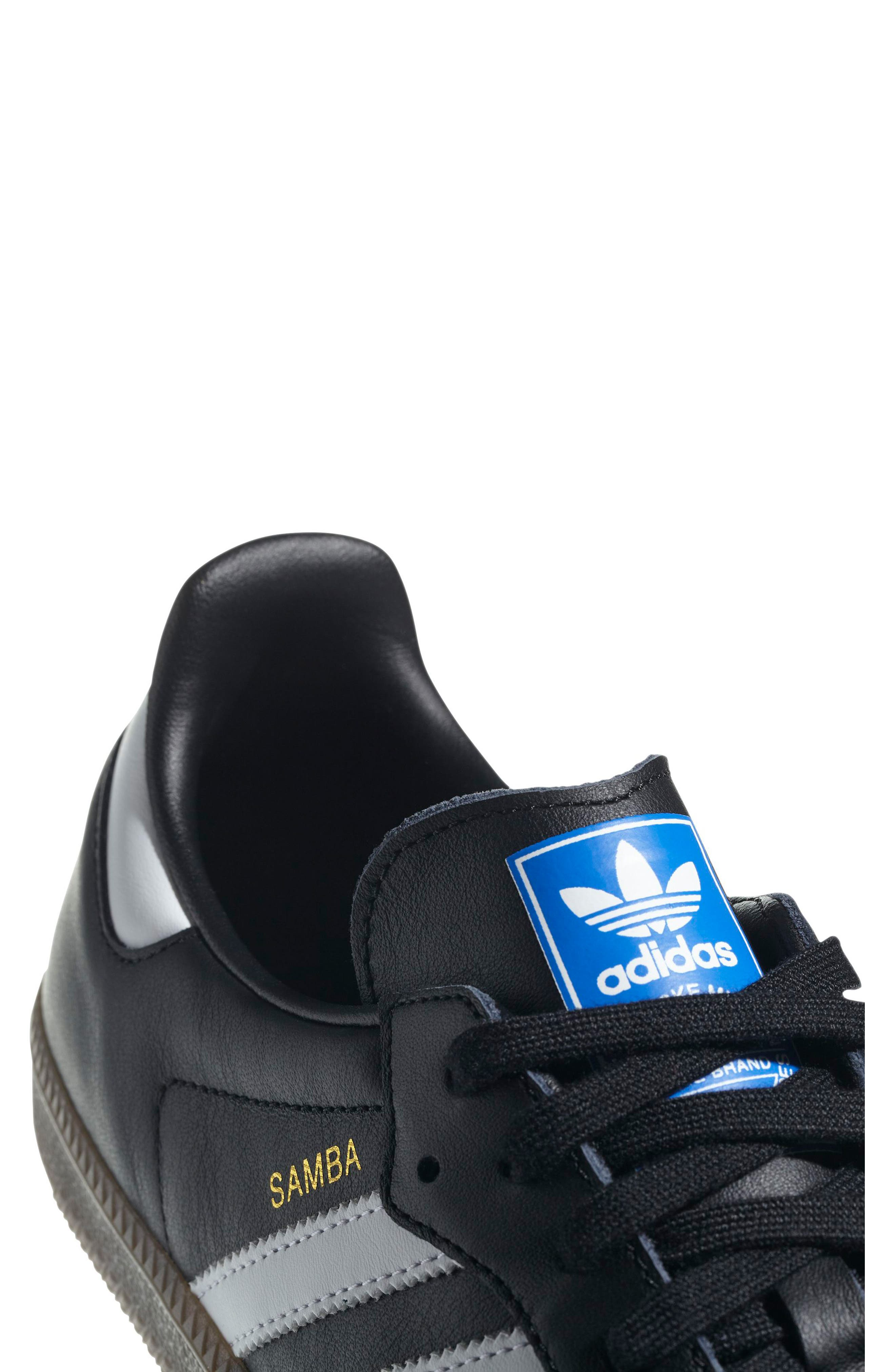 ADIDAS, Samba OG Sneaker, Alternate thumbnail 4, color, BLACK/ WHITE/ GUM