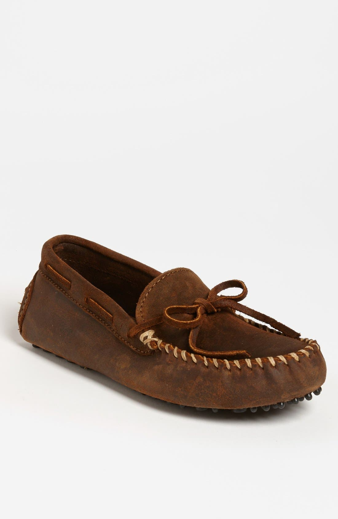 MINNETONKA, Suede Driving Shoe, Main thumbnail 1, color, BROWN