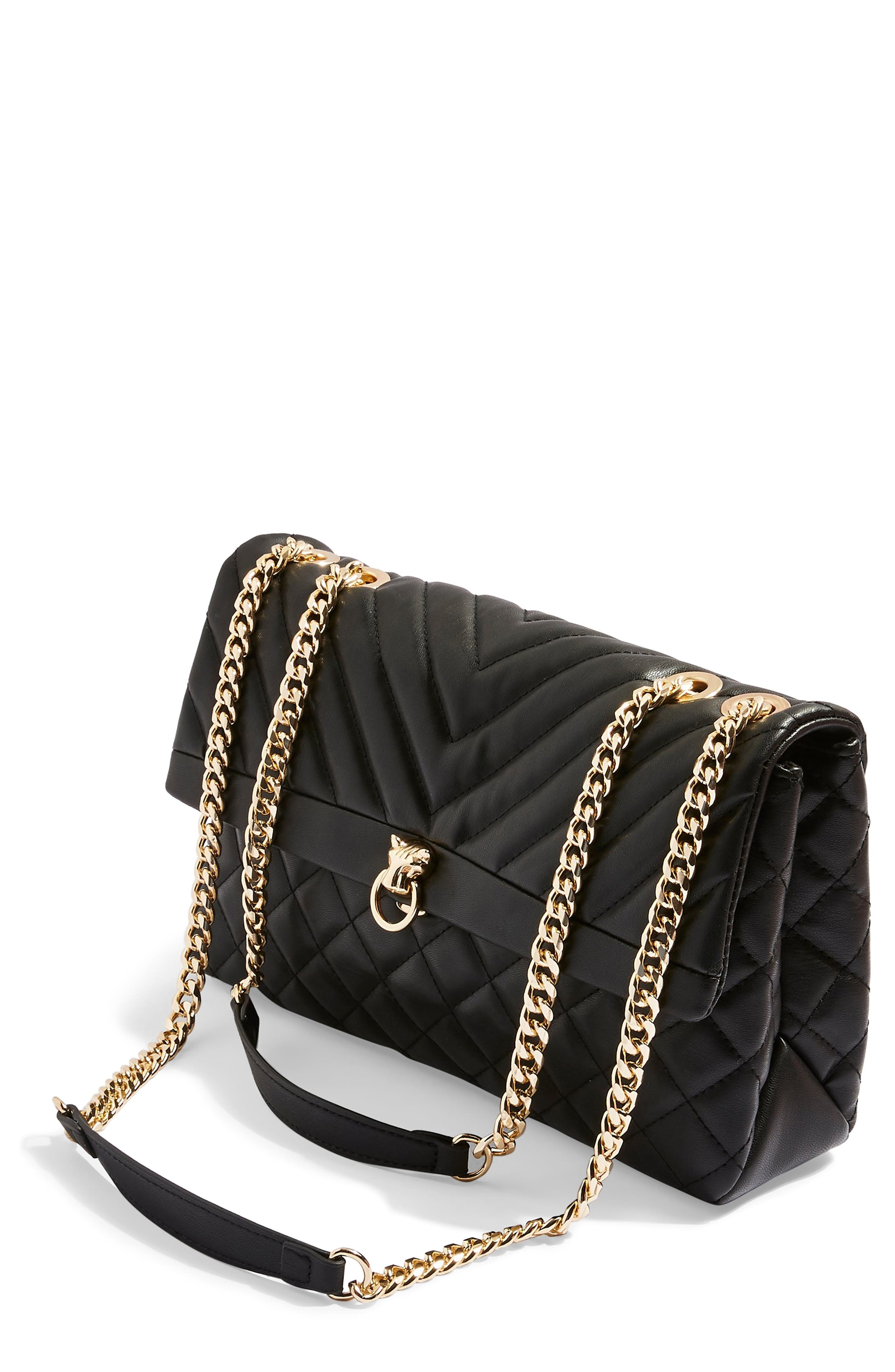 TOPSHOP, Panther Quilted Faux Leather Shoulder Bag, Main thumbnail 1, color, 001