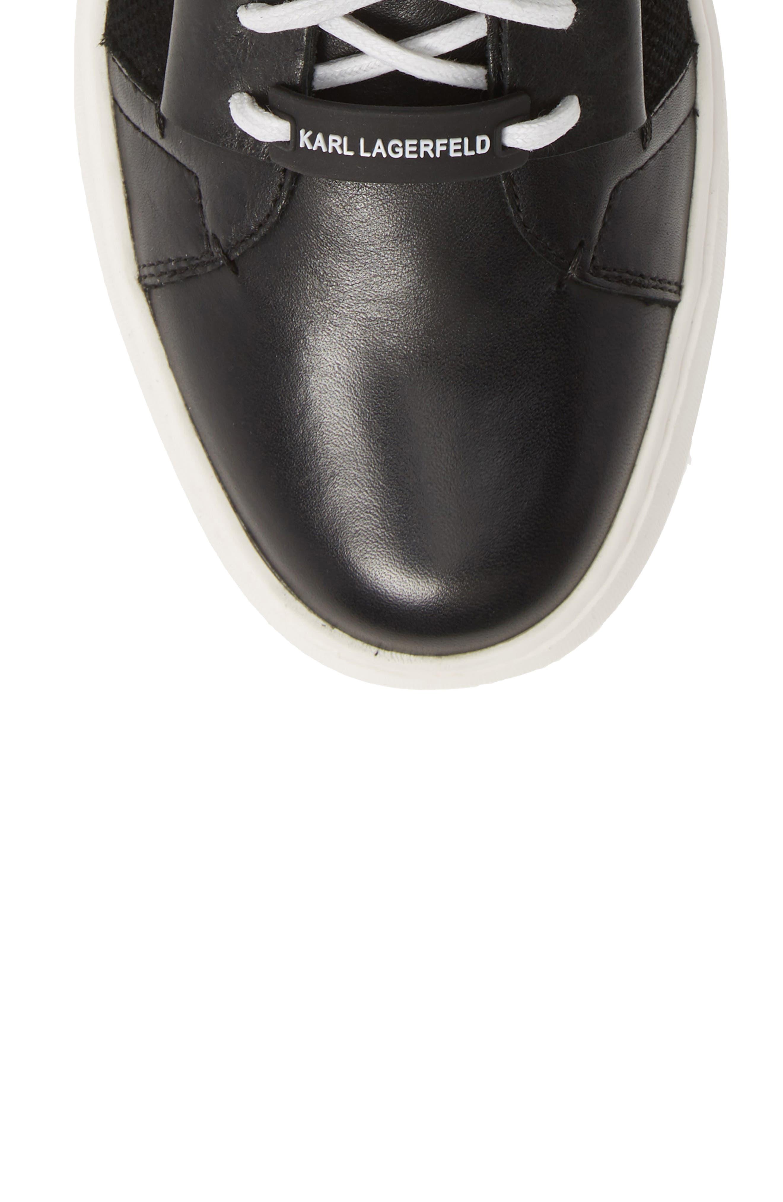 KARL LAGERFELD PARIS, High Top Sneaker, Alternate thumbnail 5, color, BLACK LEATHER