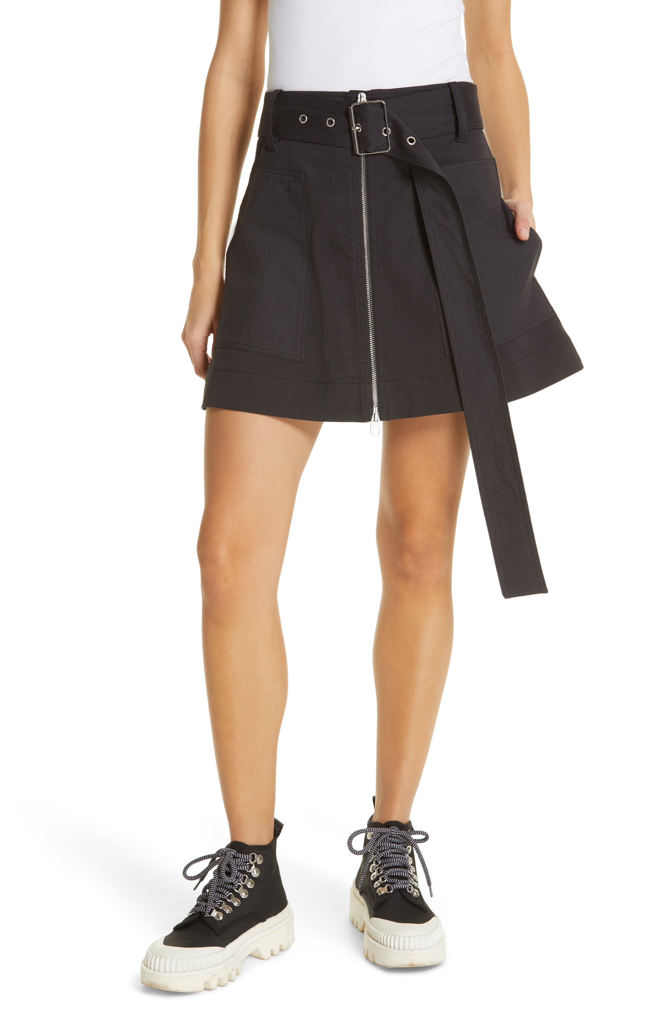 PROENZA SCHOULER, PSWL Belted Utility Skirt, Main thumbnail 1, color, BLACK