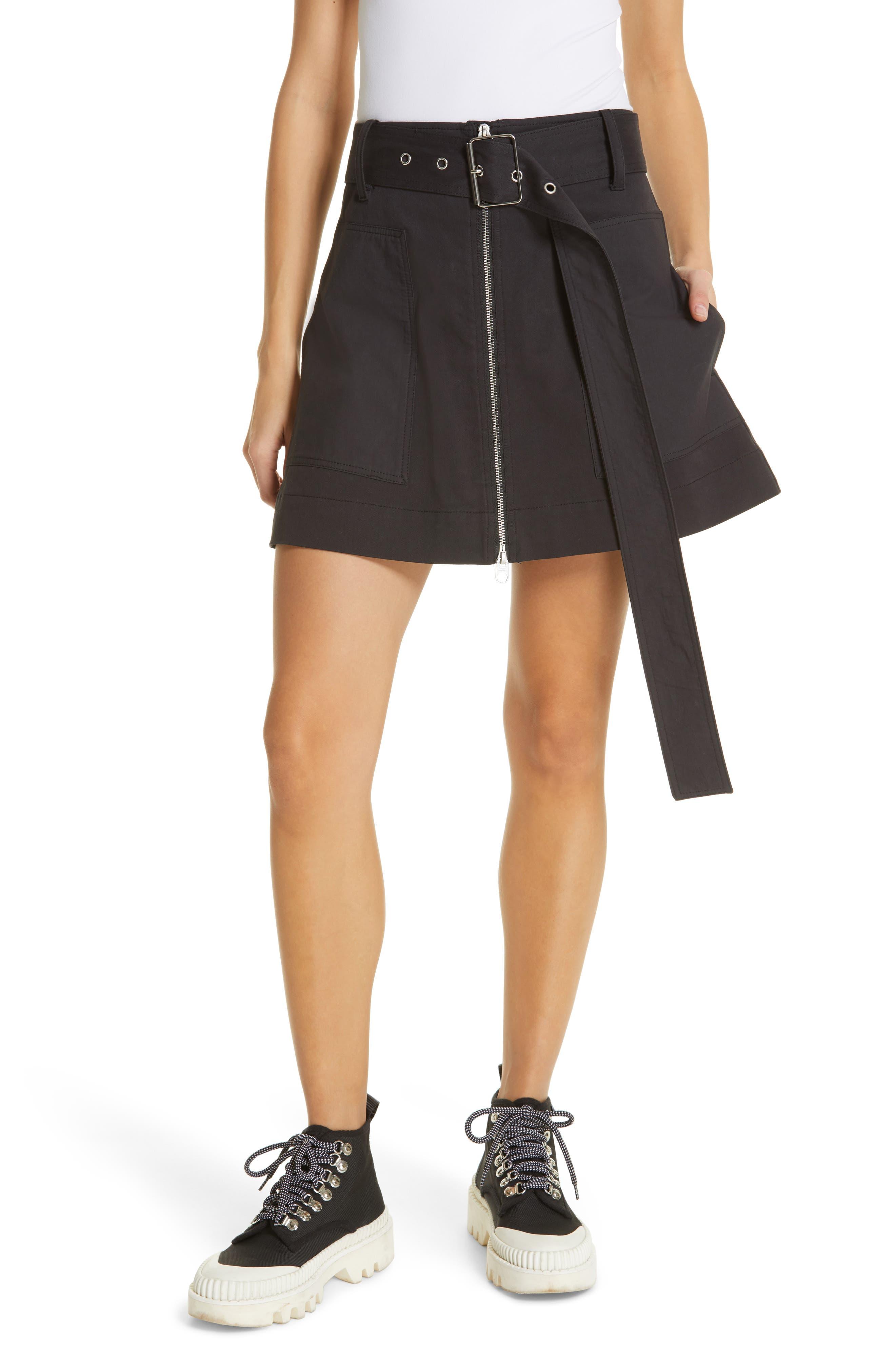 PROENZA SCHOULER PSWL Belted Utility Skirt, Main, color, BLACK