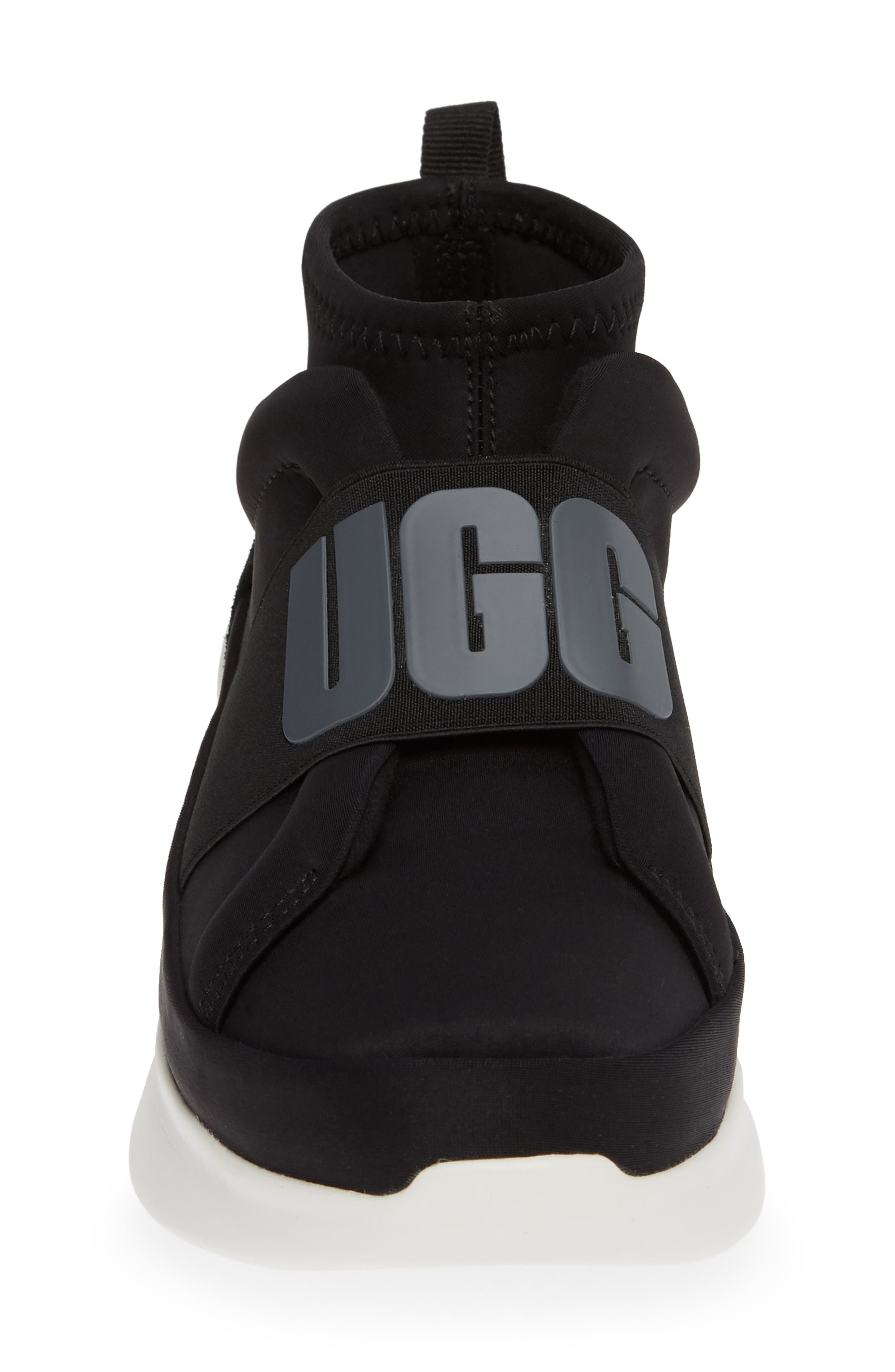 UGG<SUP>®</SUP>, Neutra Sock Sneaker, Alternate thumbnail 4, color, BLACK