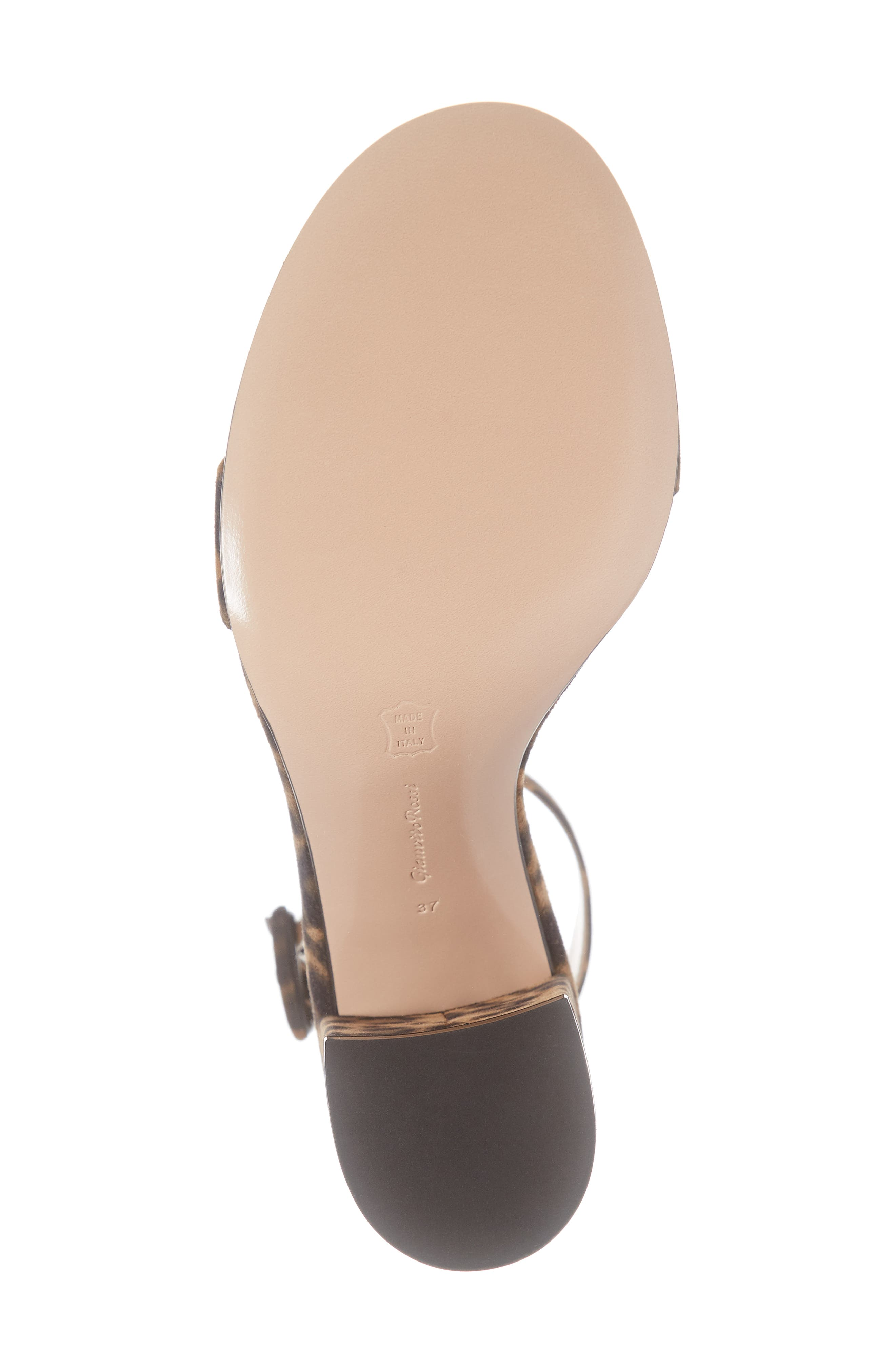 GIANVITO ROSSI, Leopard Print Ankle Strap Sandal, Alternate thumbnail 6, color, LEOPARD