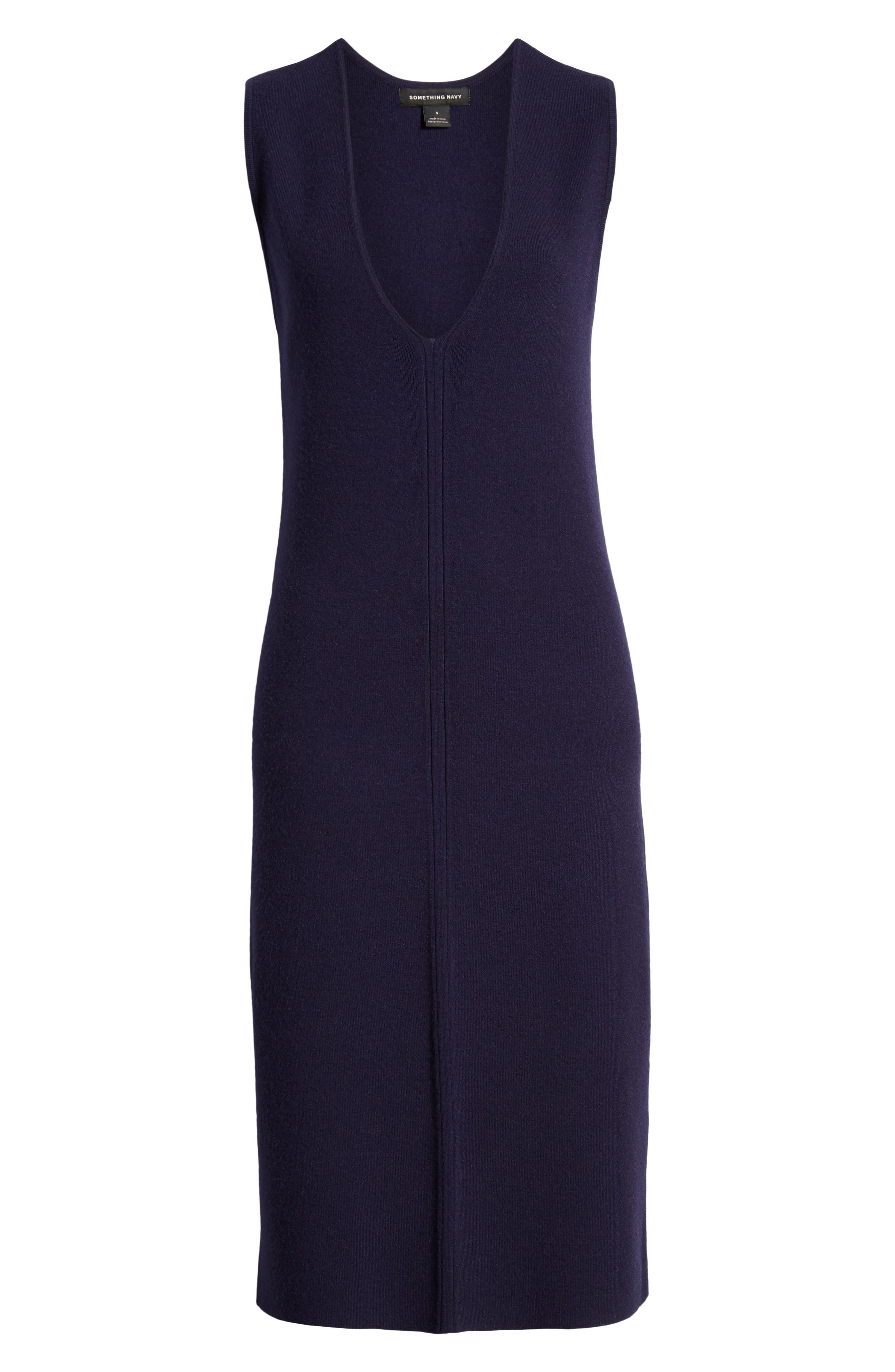 SOMETHING NAVY, Sleeveless Sweater Dress, Alternate thumbnail 7, color, 401