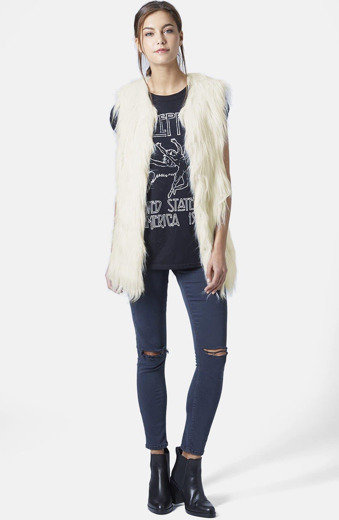TOPSHOP, Faux Fur Gilet Vest, Alternate thumbnail 3, color, 900
